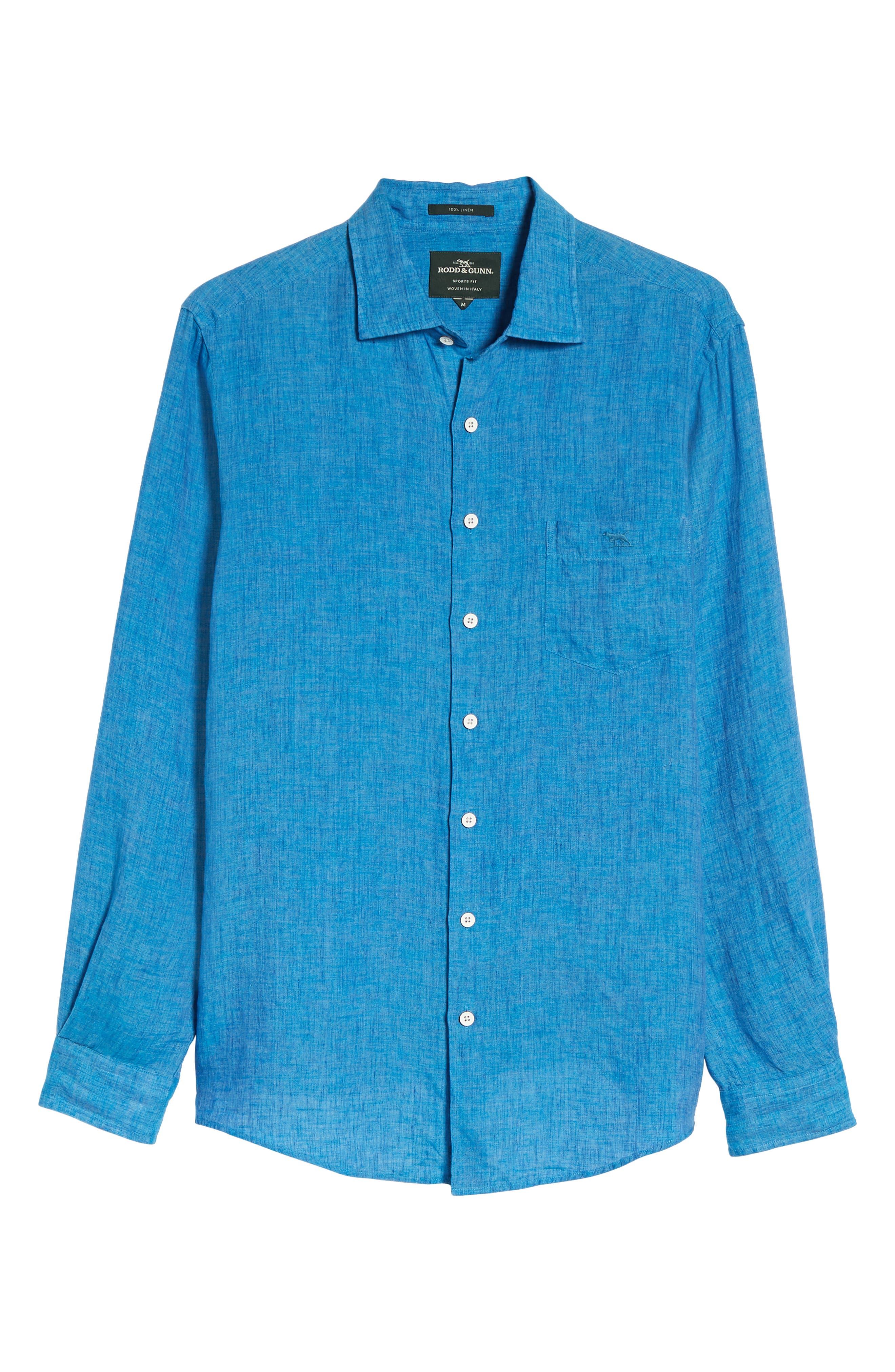RODD & GUNN,                             Harris Bay Regular Fit Linen Sport Shirt,                             Alternate thumbnail 6, color,                             438