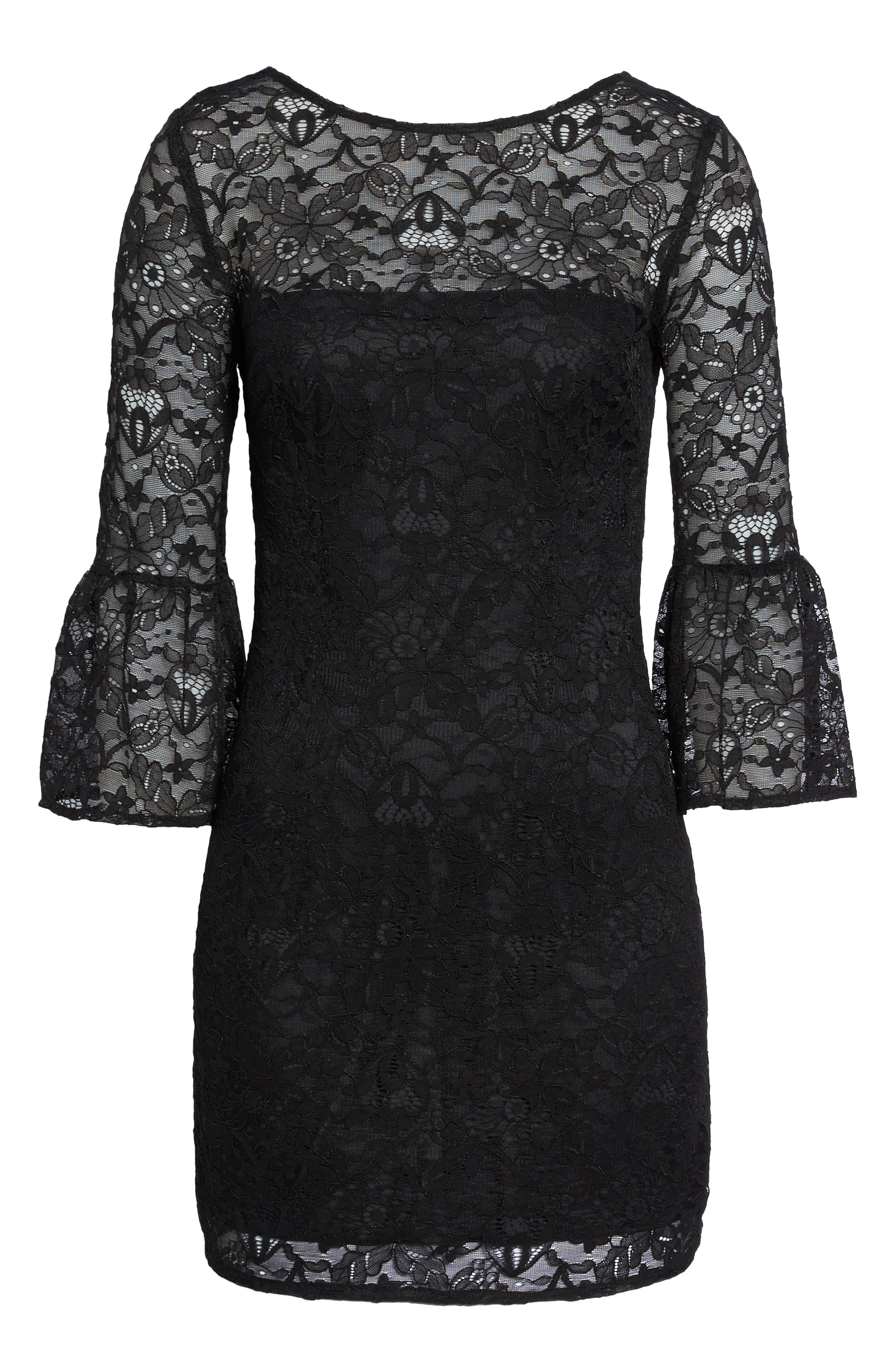 Billie Bell Sleeve Lace Dress,                             Alternate thumbnail 6, color,                             001