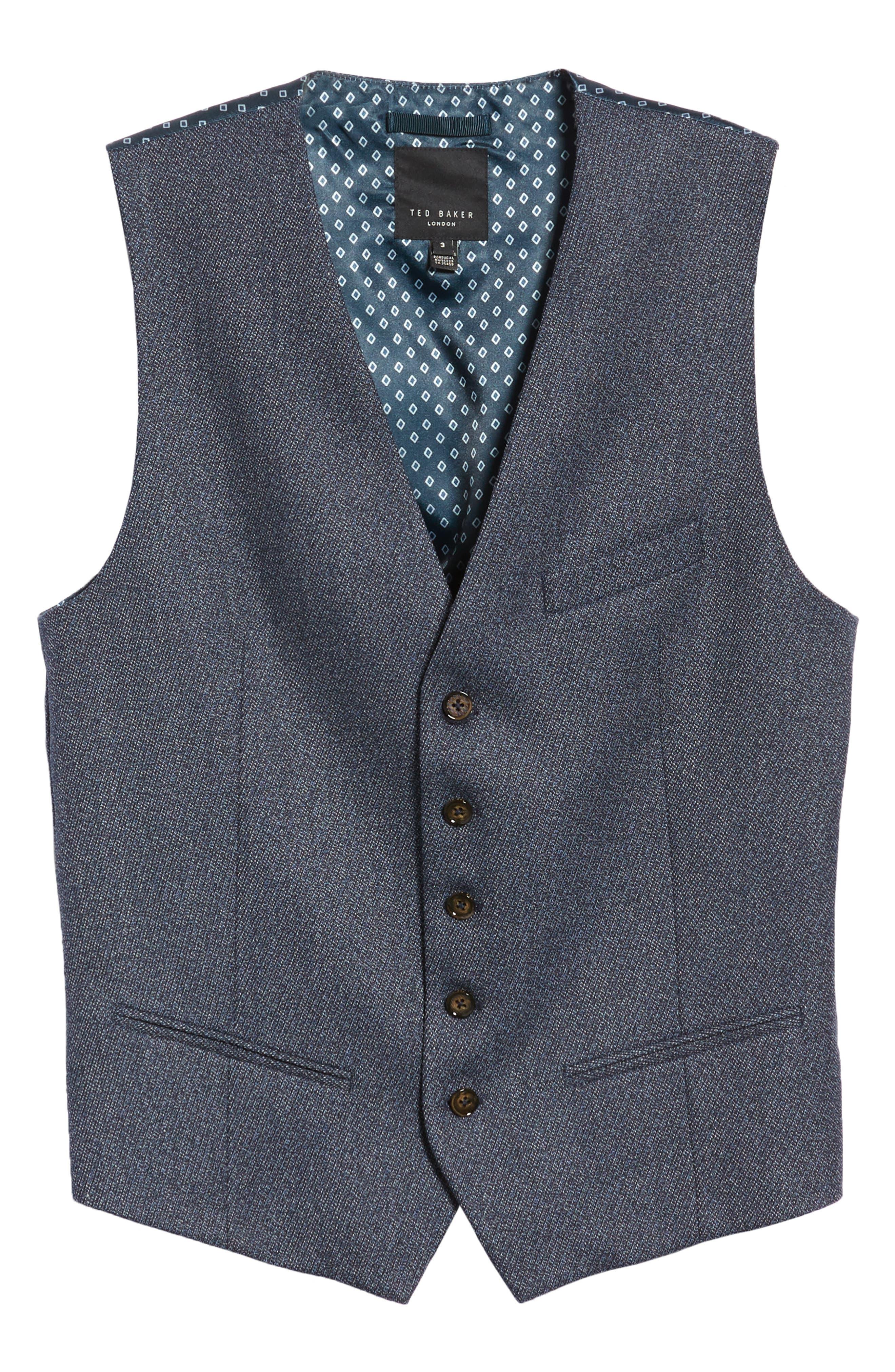 Slim Fit Bufwai Twill Vest,                             Alternate thumbnail 5, color,                             BLUE