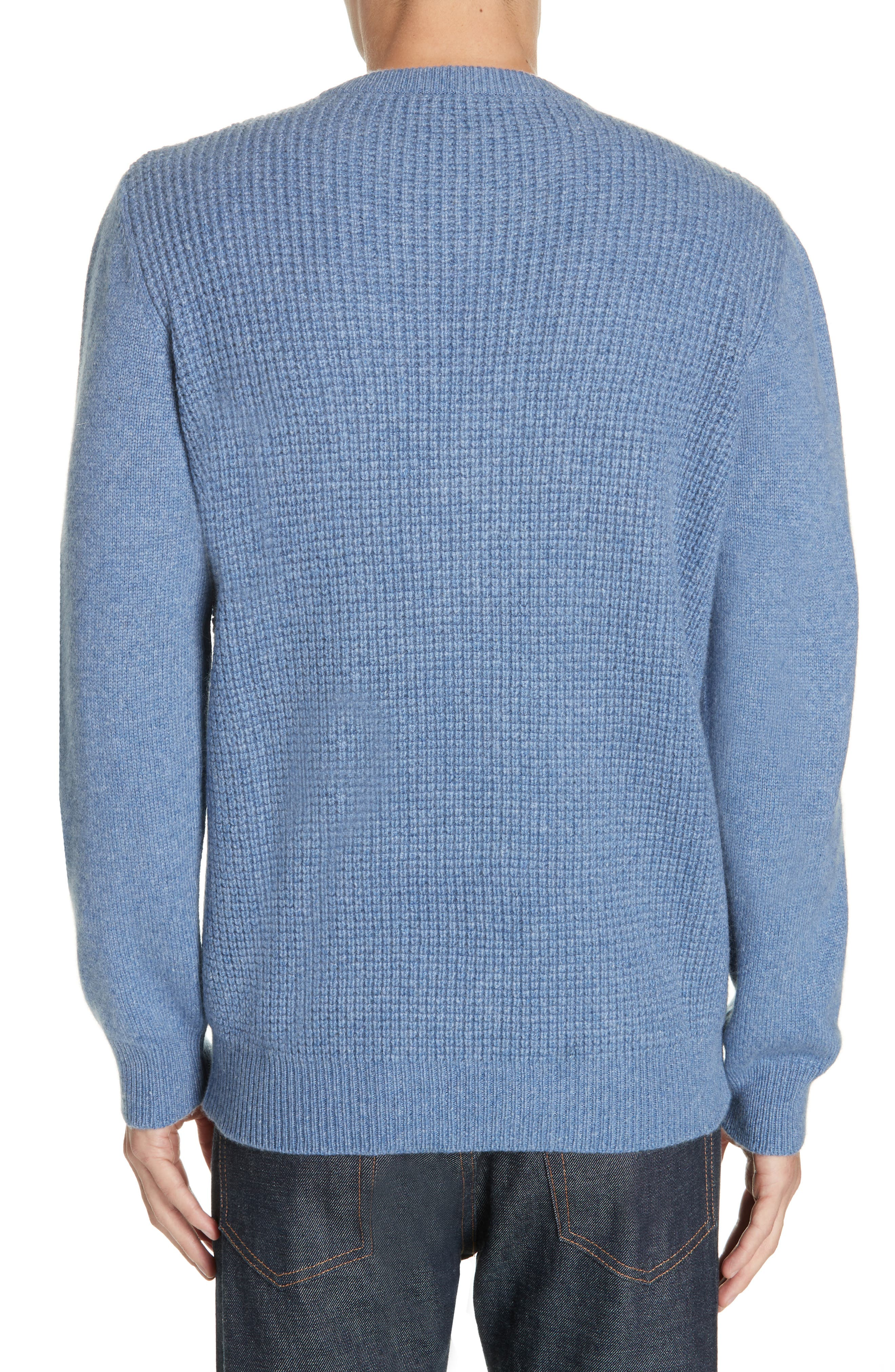 Waffle Knit Cashmere Crewneck Sweater,                             Alternate thumbnail 2, color,                             LIGHT BLUE
