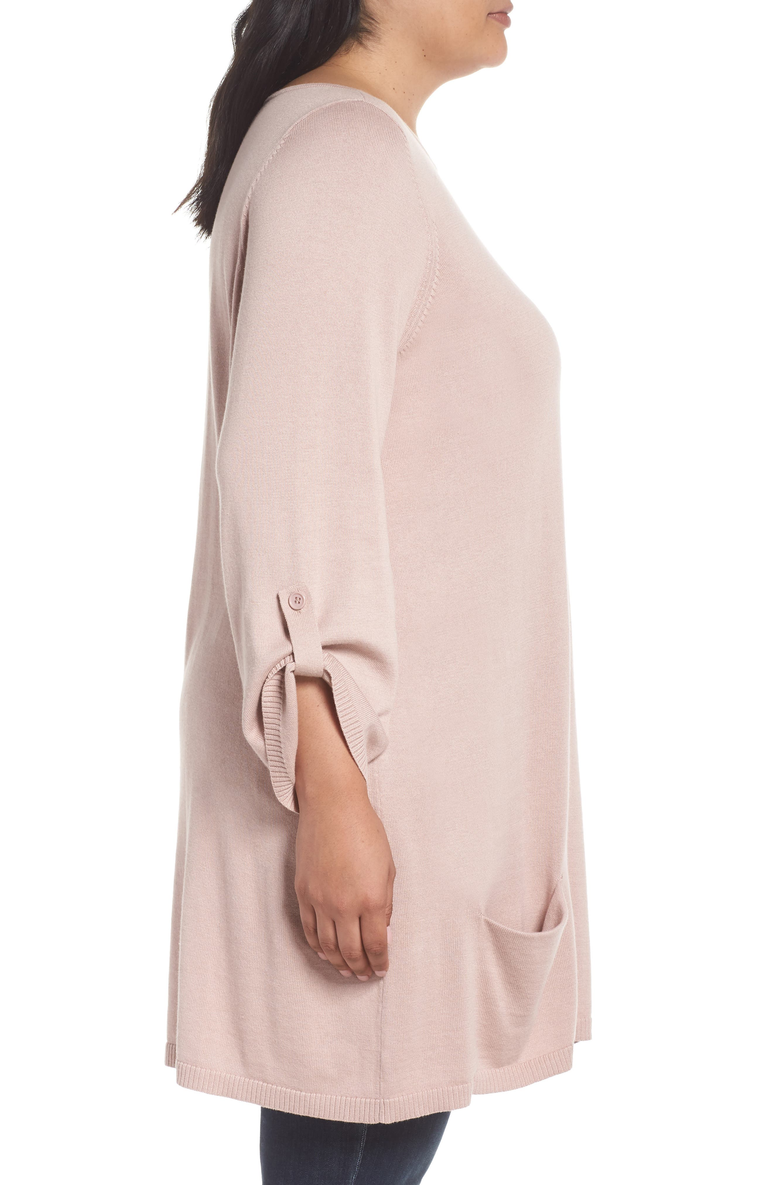 Roll Sleeve Tunic Sweater,                             Alternate thumbnail 3, color,                             PINK ADOBE