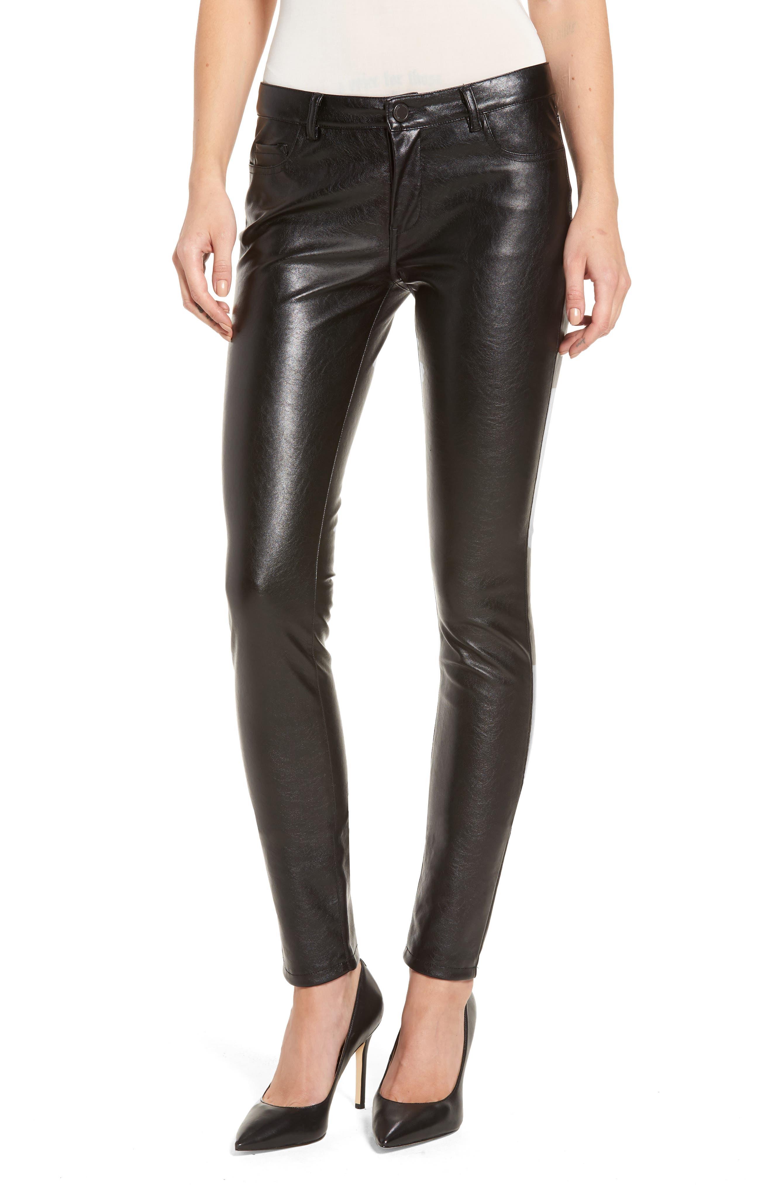 Skinny Classique Faux Leather Jeans, Main, color, 001