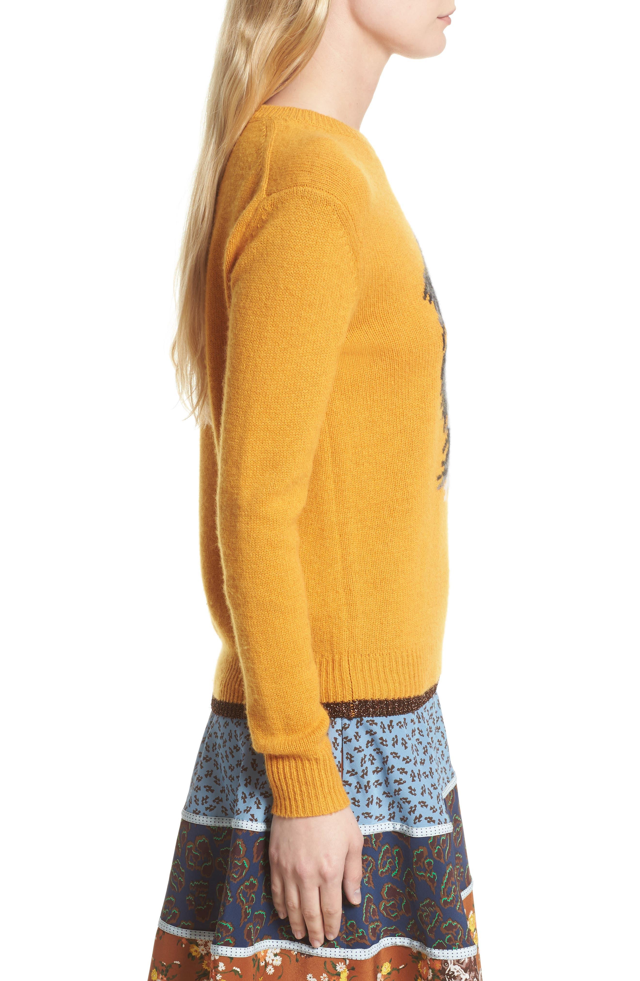 Intarsia Dog Cashmere Sweater,                             Alternate thumbnail 3, color,                             701