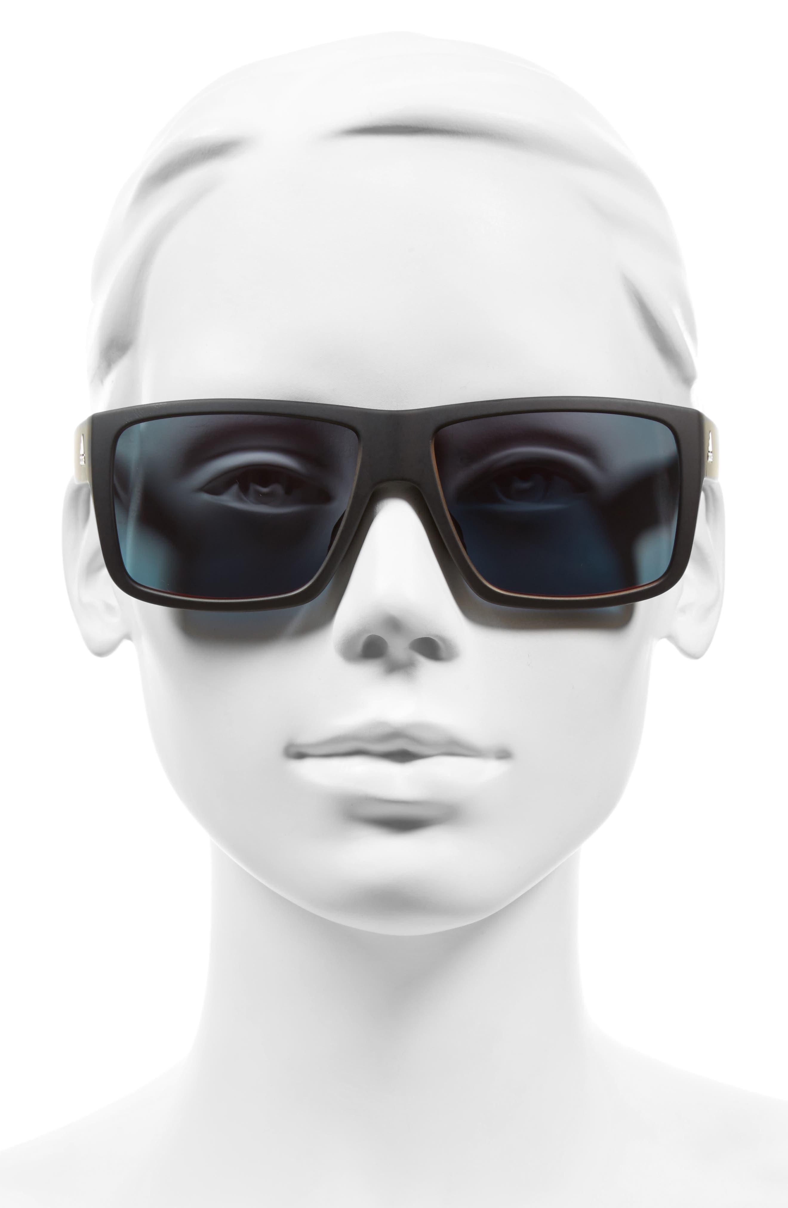 Matic 59mm Sunglasses,                             Alternate thumbnail 4, color,                             BLACK MATTE/ RED MIRROR
