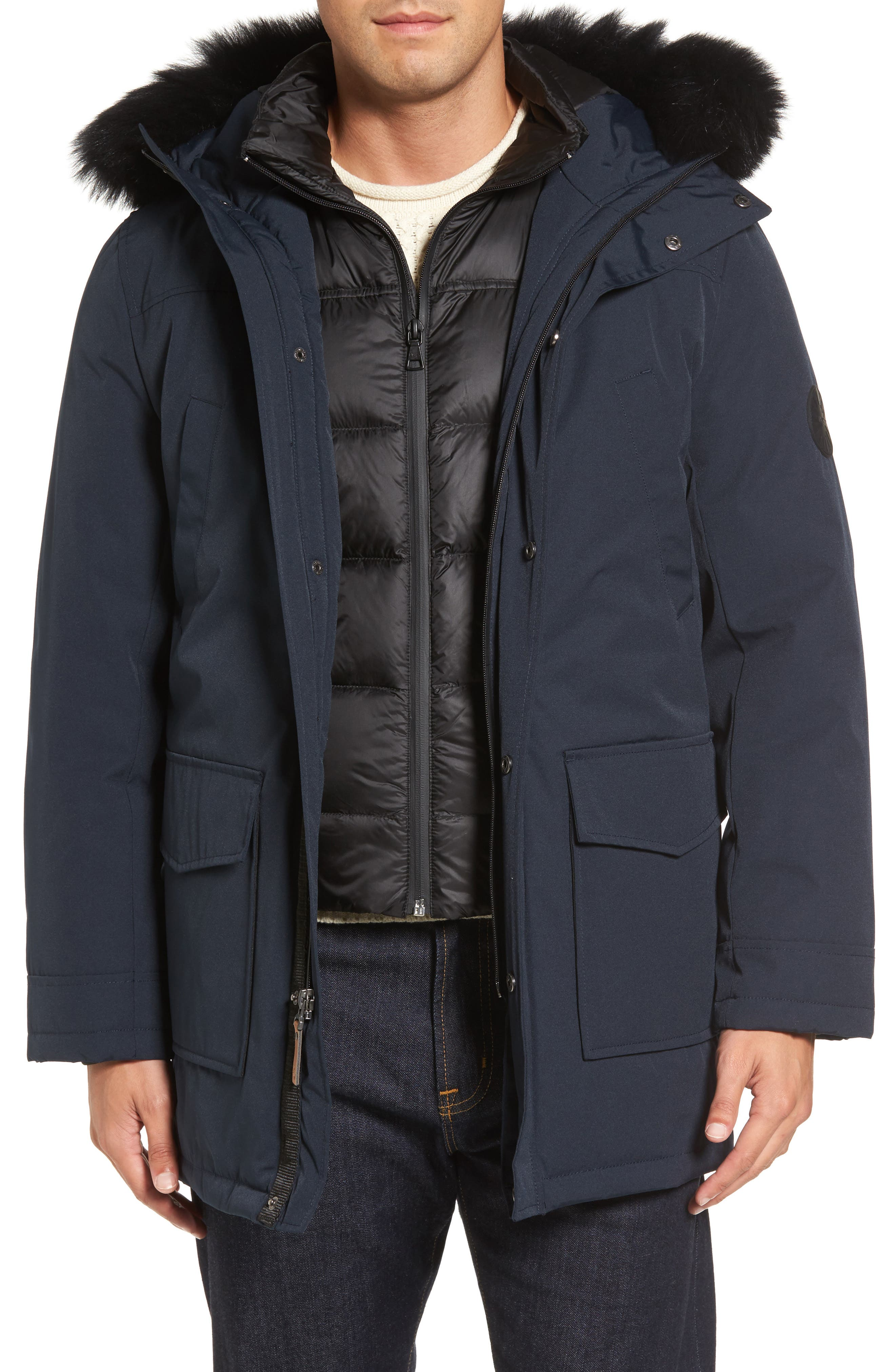 Butte Water-Resistant Down Parka with Genuine Shearling Trim,                             Main thumbnail 1, color,                             001