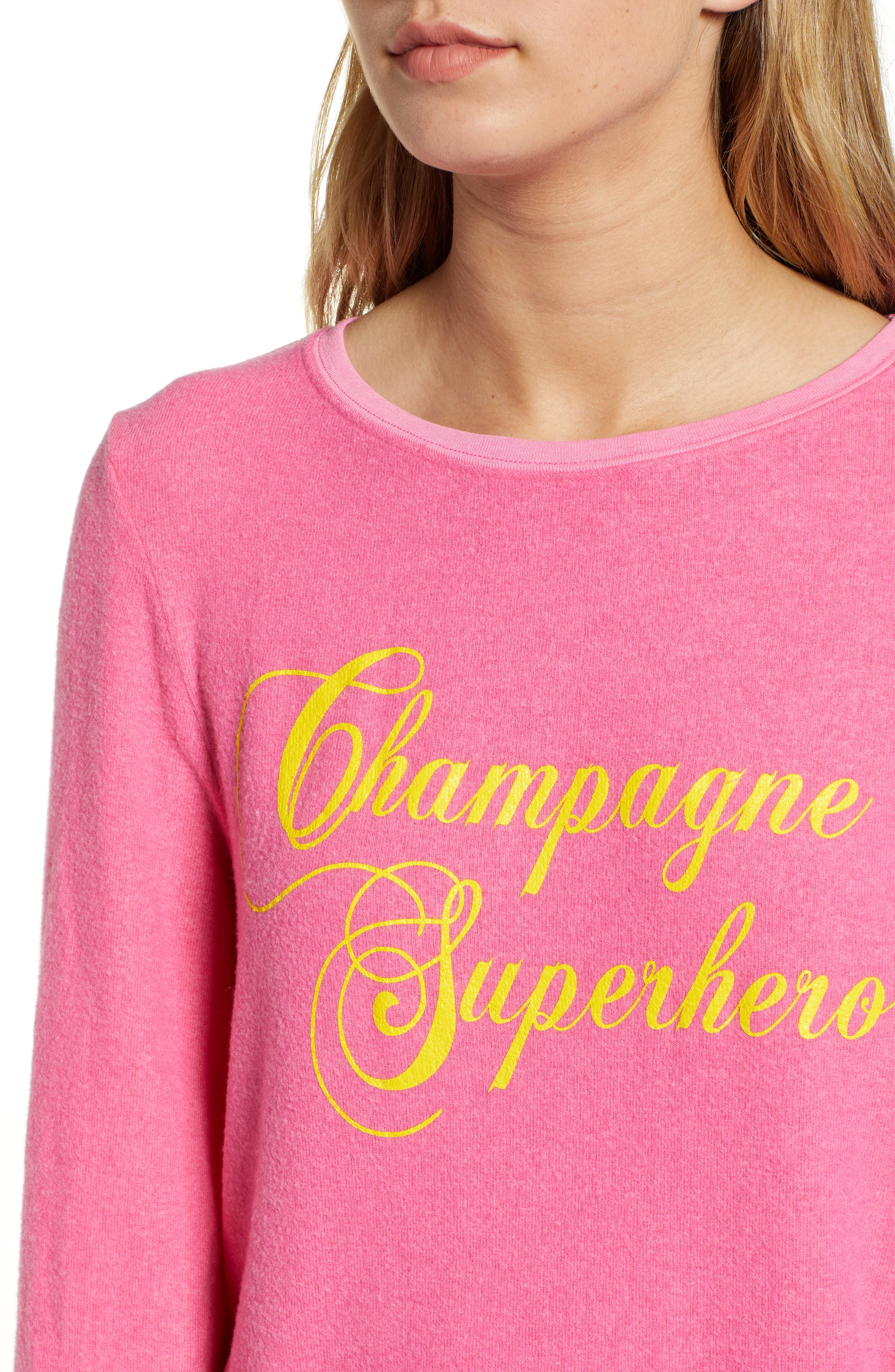 WILDFOX,                             Baggy Beach Jumper - Champagne Superhero Pullover,                             Alternate thumbnail 4, color,                             650