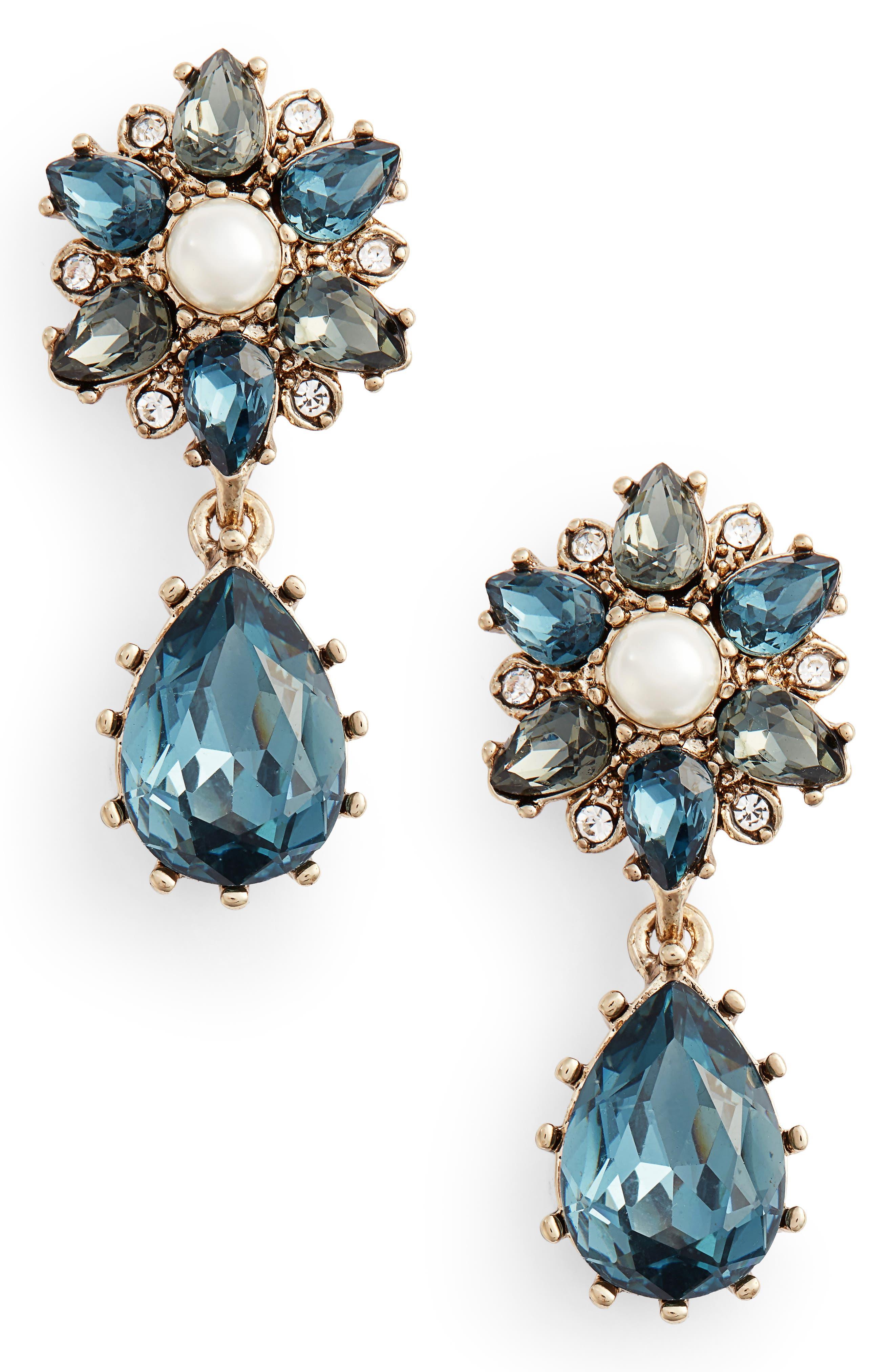 Double Drop Earrings,                             Main thumbnail 1, color,                             BLUE MULTI/ GOLD