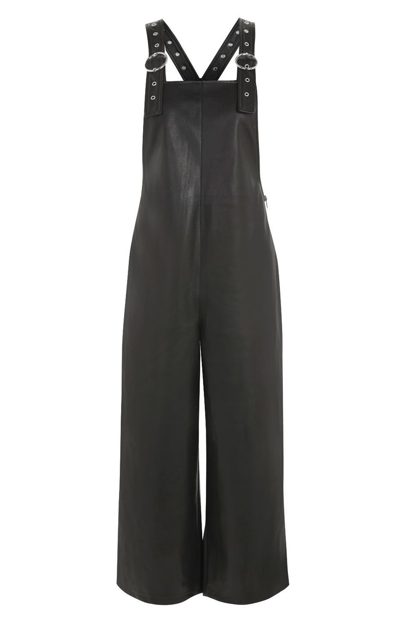 Faux Leather Overalls,                             Alternate thumbnail 4, color,