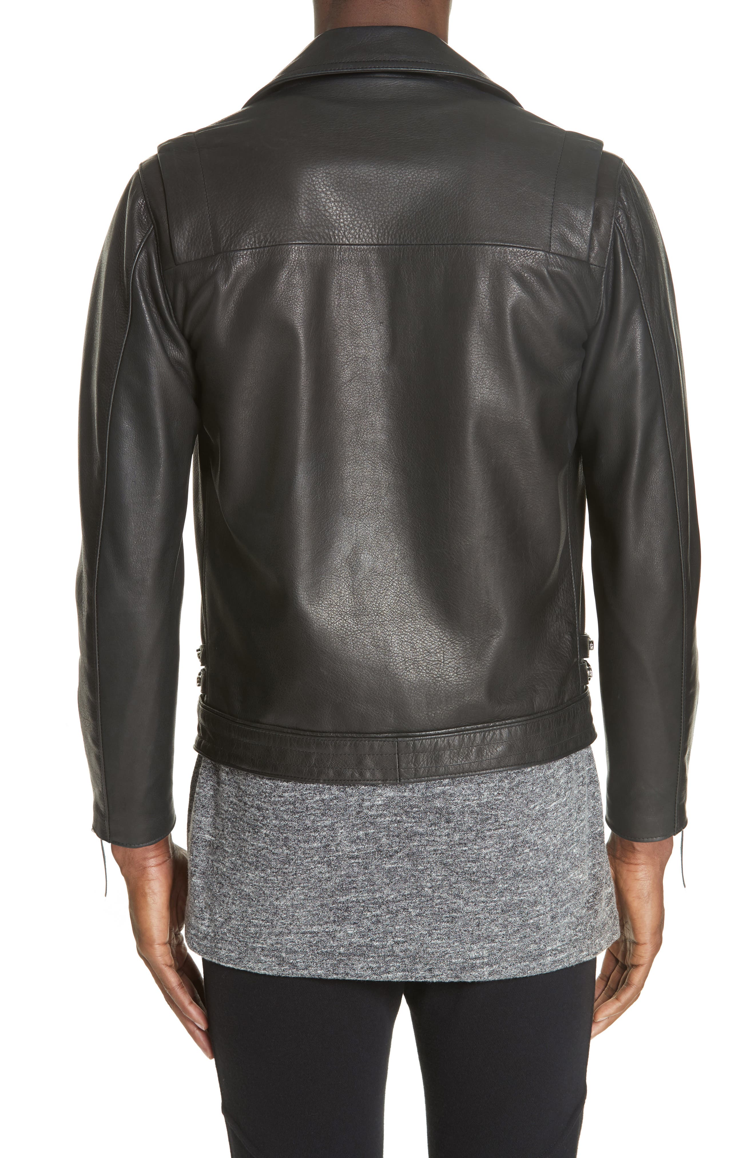 Riders Leather Jacket,                             Alternate thumbnail 2, color,                             BLACK