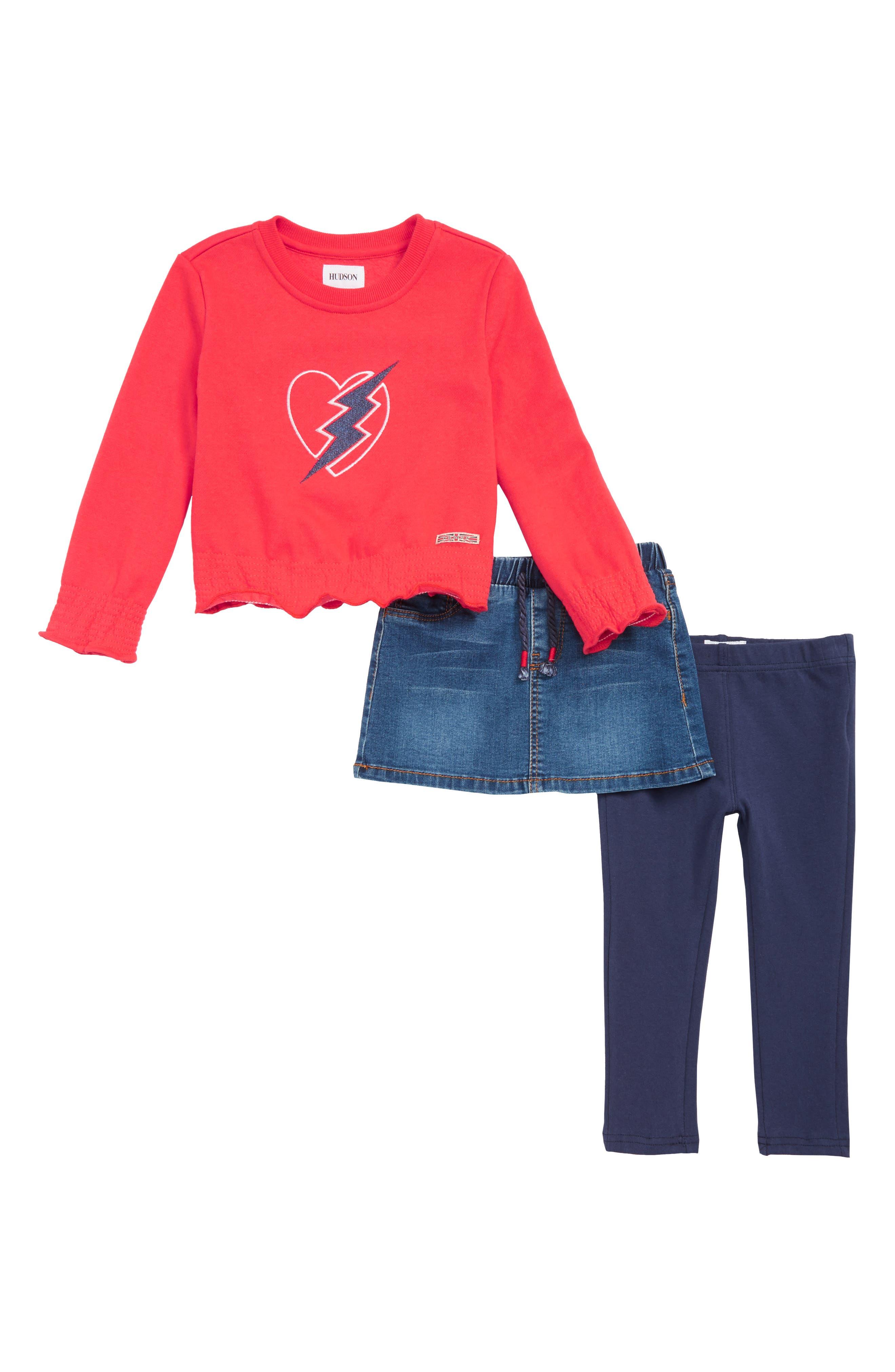 Toddler Girls Hudson Kids Lightning Top Skirt  Leggings Set