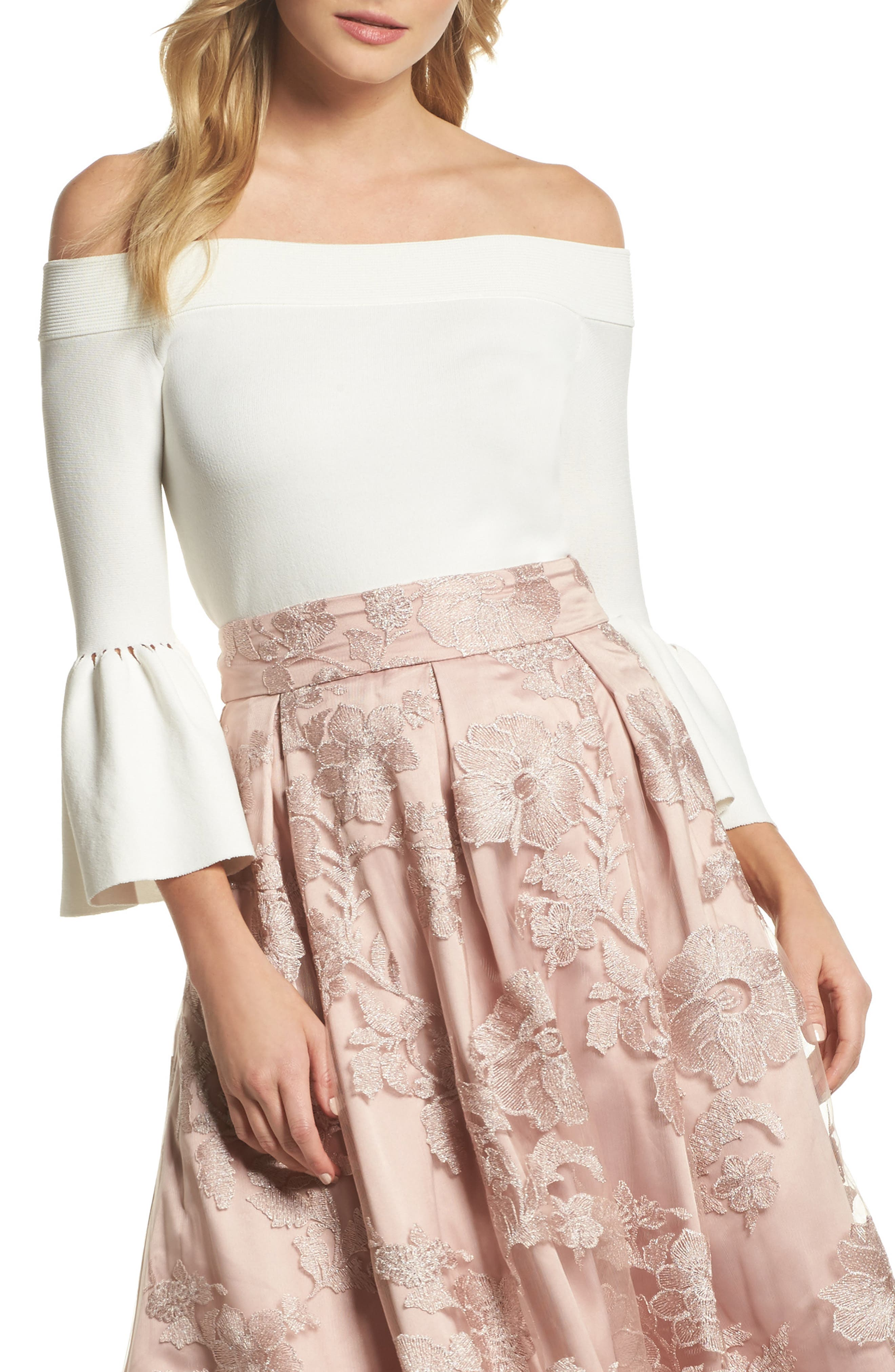 Off the Shoulder Bell Sleeve Top,                             Main thumbnail 2, color,