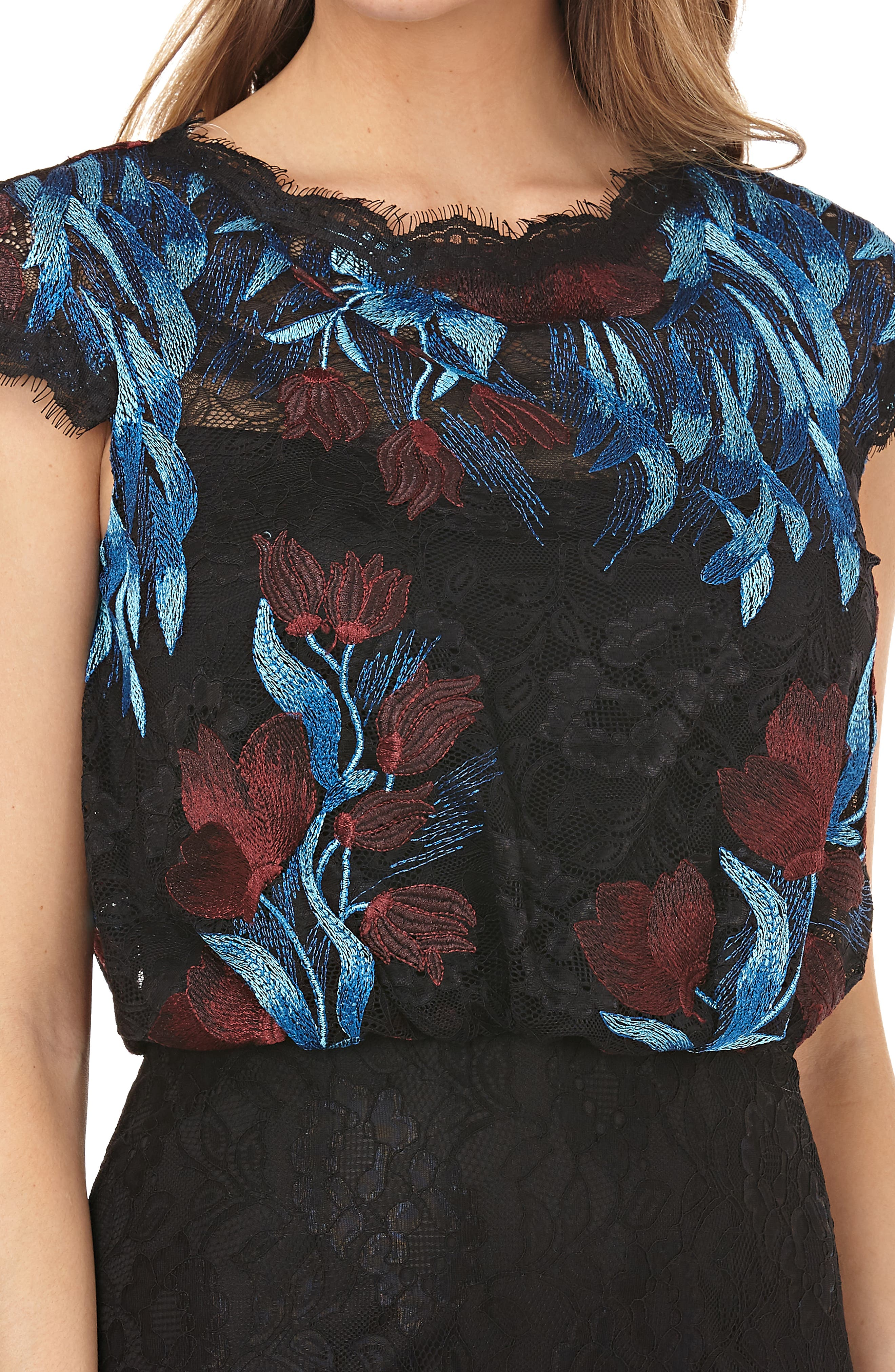Embroidered Blouson Bodice Lace Gown,                             Alternate thumbnail 3, color,                             MIDNIGHT/ MULTI