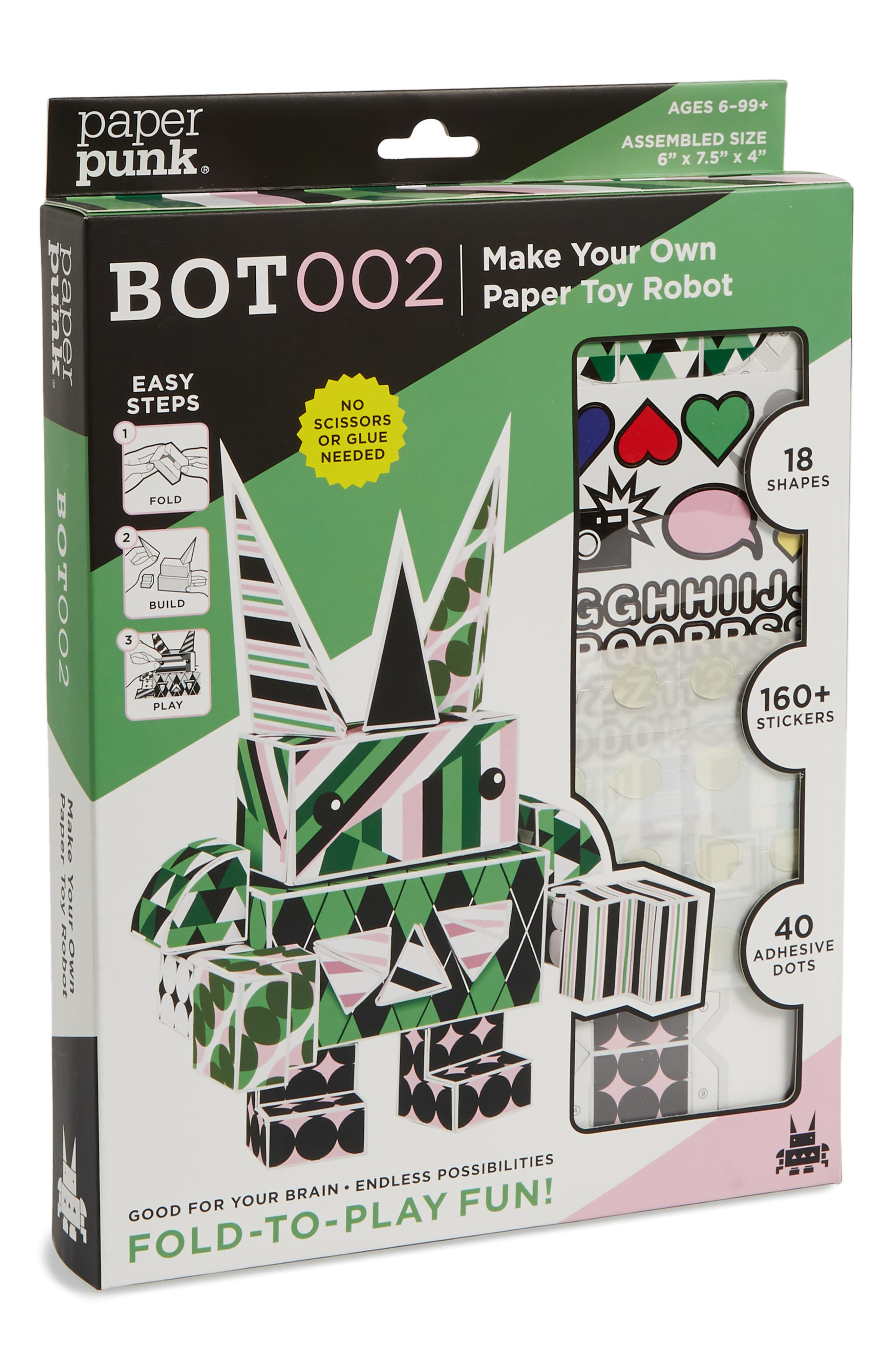 Bot002 Make Your Own Paper Toy Robot Kit,                             Main thumbnail 1, color,