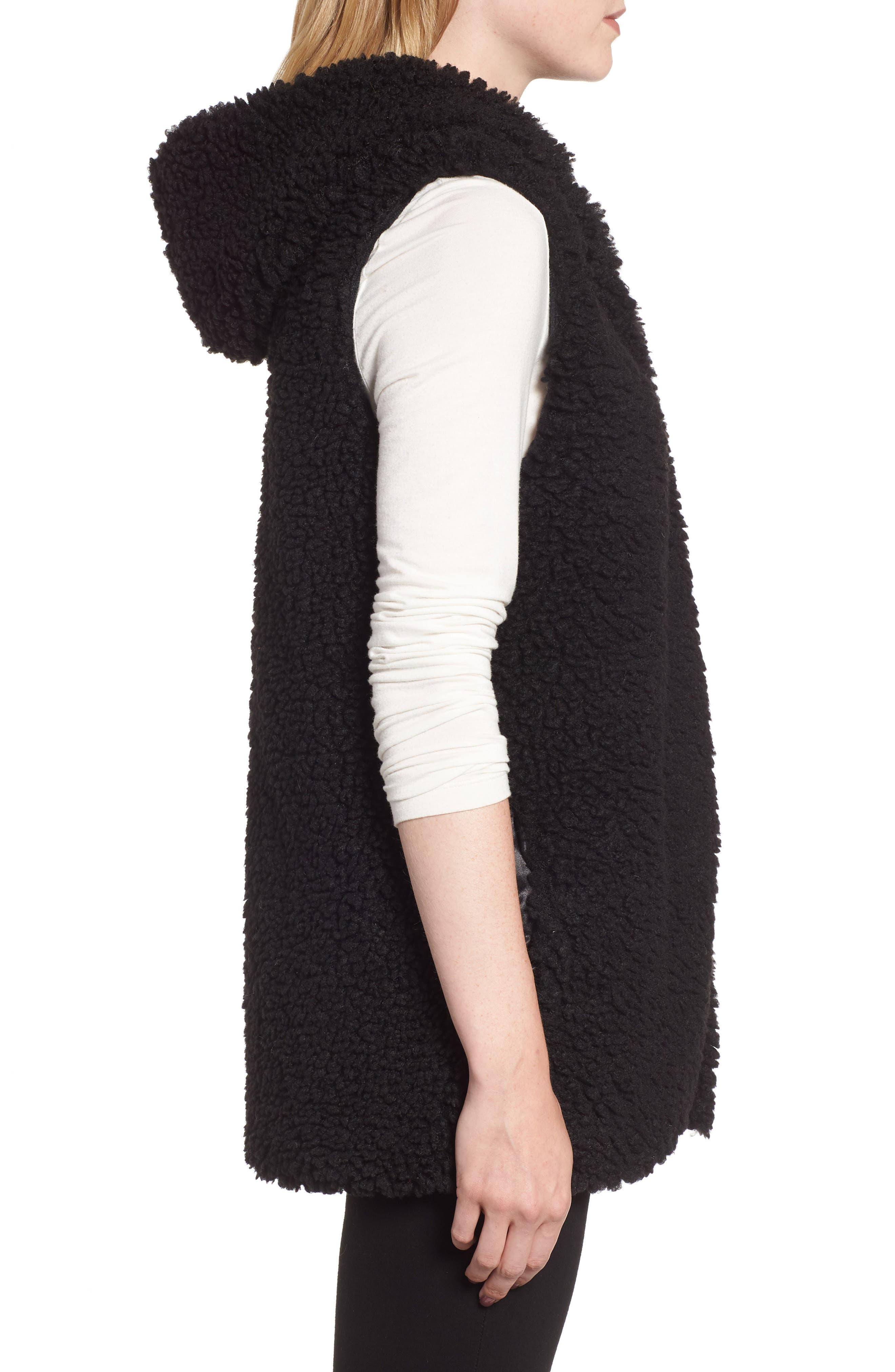 Faux Shearling Hooded Vest,                             Alternate thumbnail 3, color,                             BLACK
