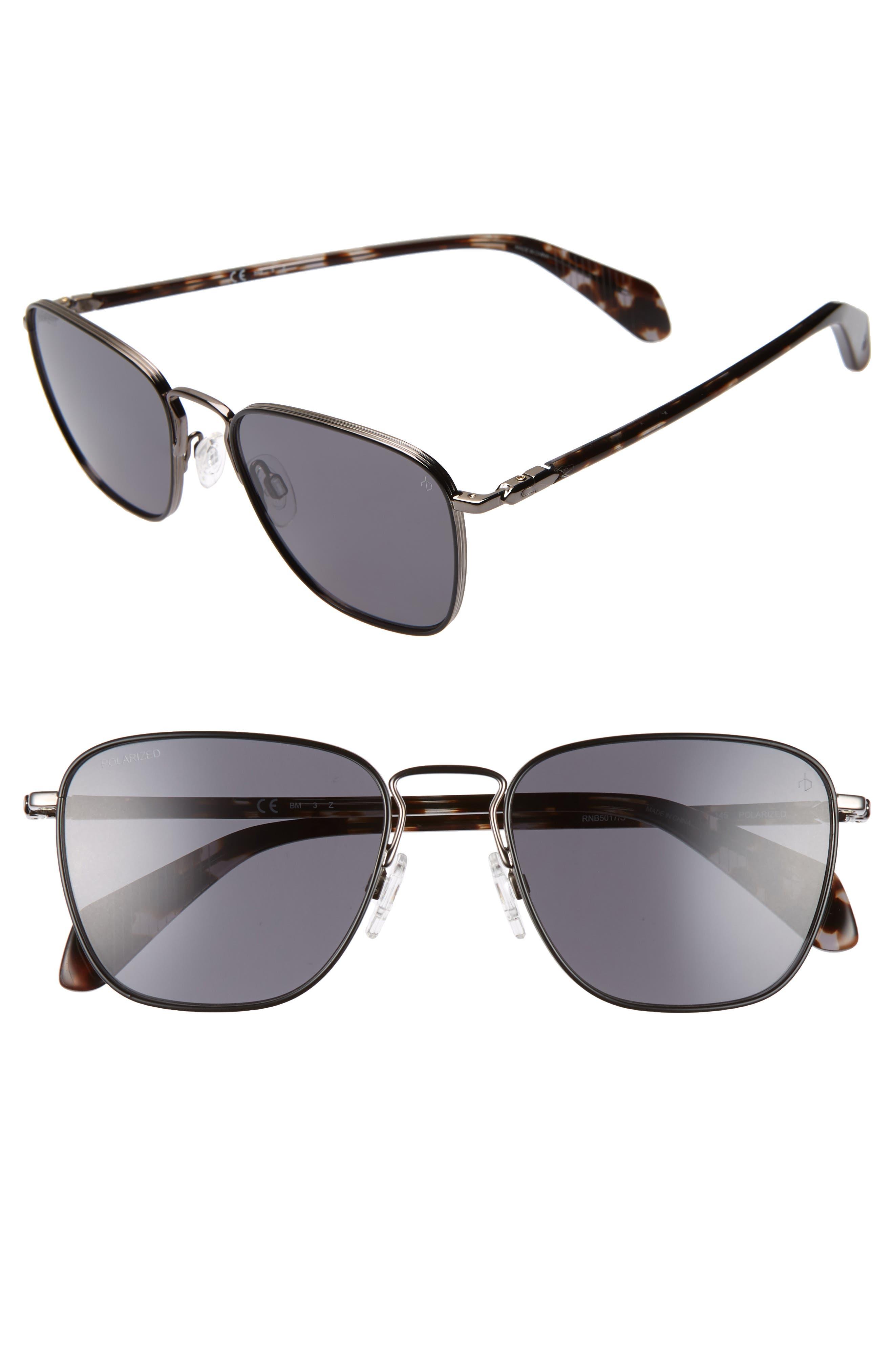 54mm Polarized Aviator Sunglasses, Main, color, DARK RUTHENIUM/ BLACK