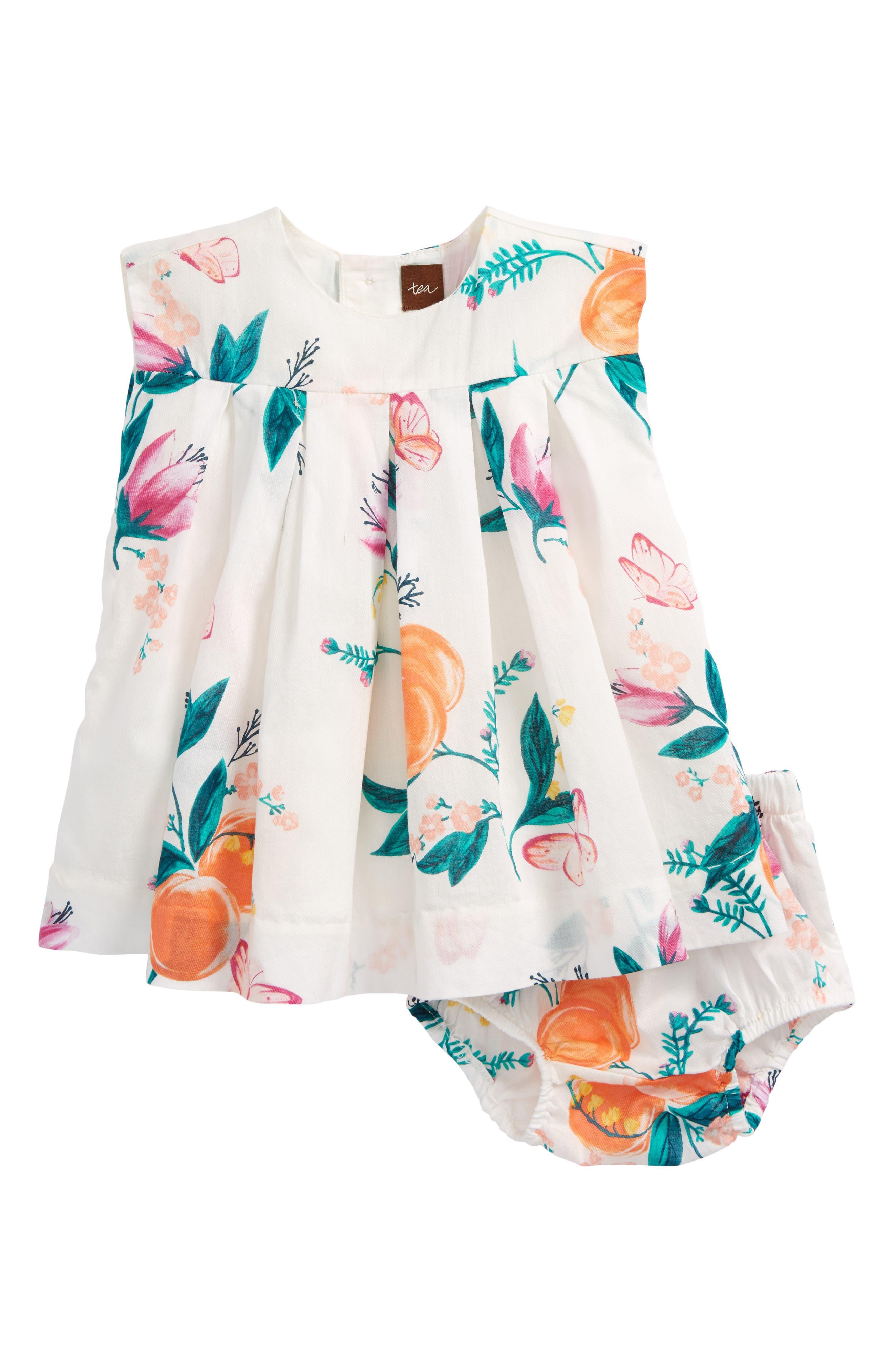 Georgia Peach Print Dress,                             Main thumbnail 1, color,                             103