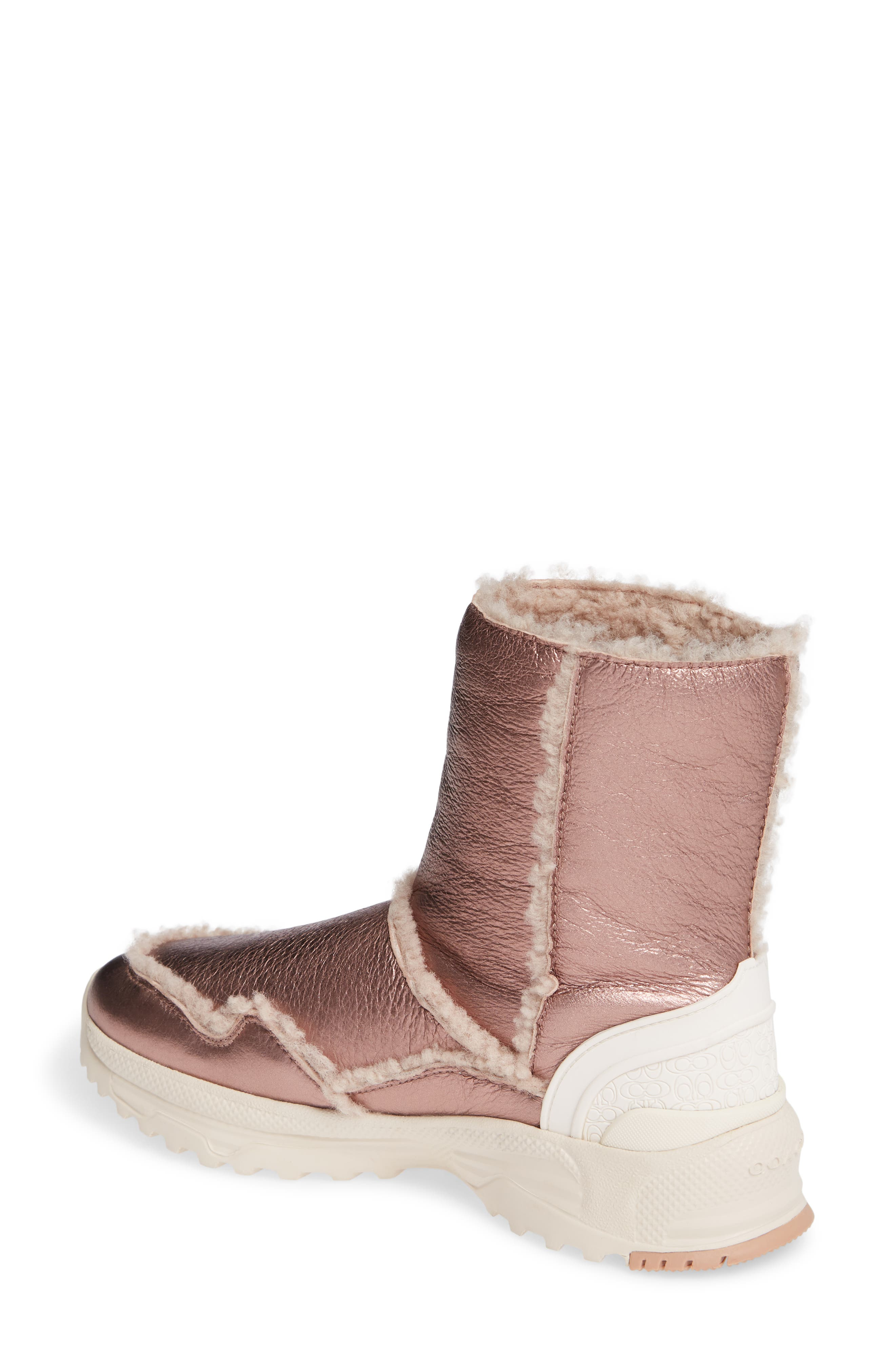 COACH,                             Portia Genuine Shearling Bootie,                             Alternate thumbnail 2, color,                             PINK