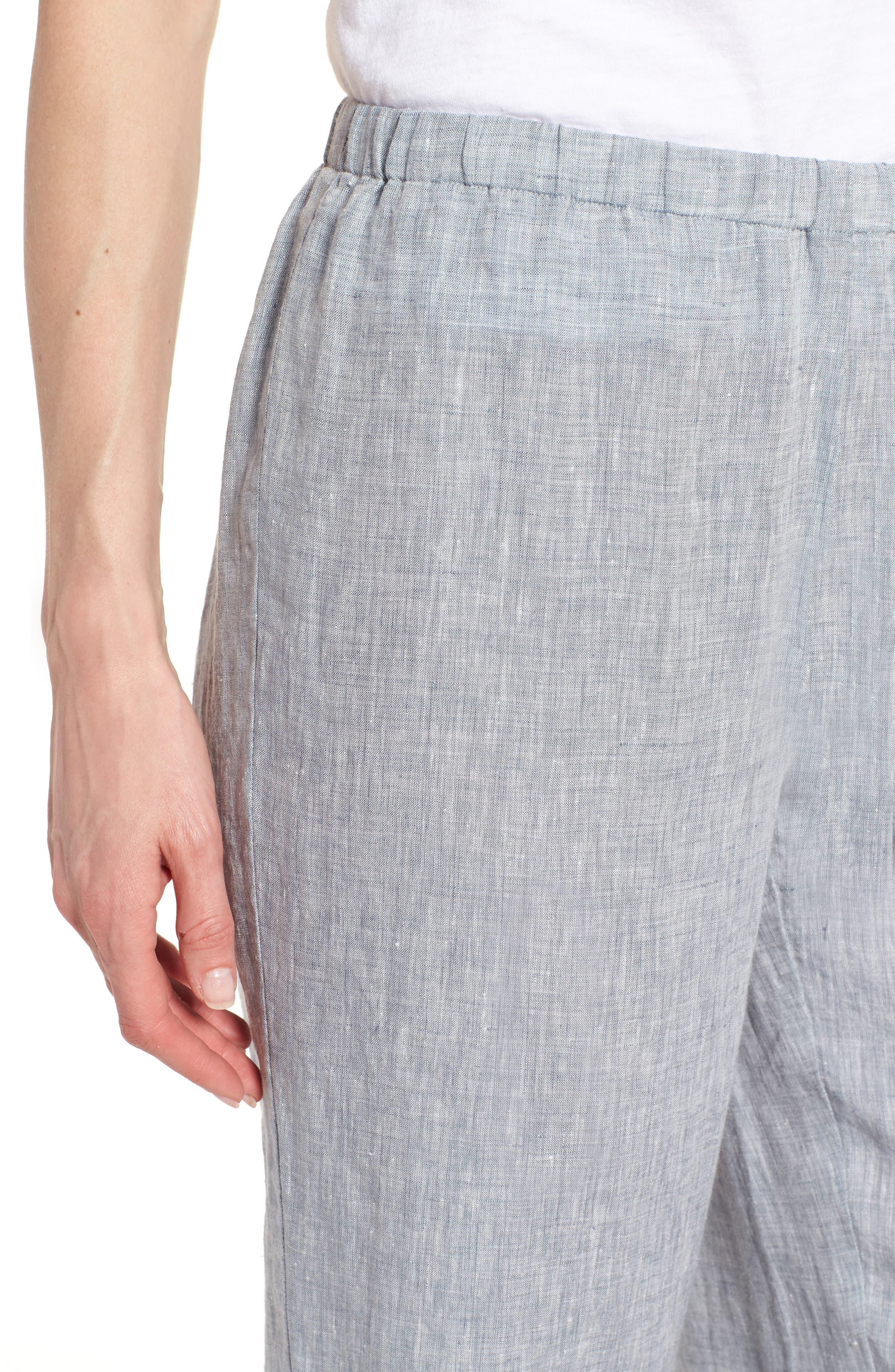 Crop Straight Leg Linen Pants,                             Alternate thumbnail 9, color,