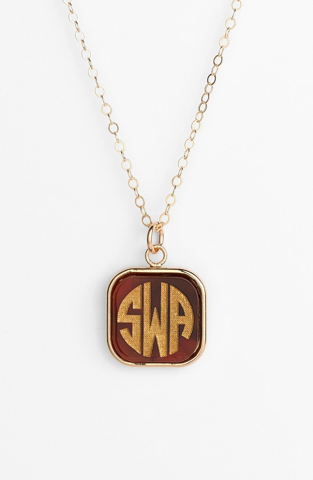 MOON AND LOLA 'Vineyard' Personalized Monogram Pendant Necklace in Tortoise