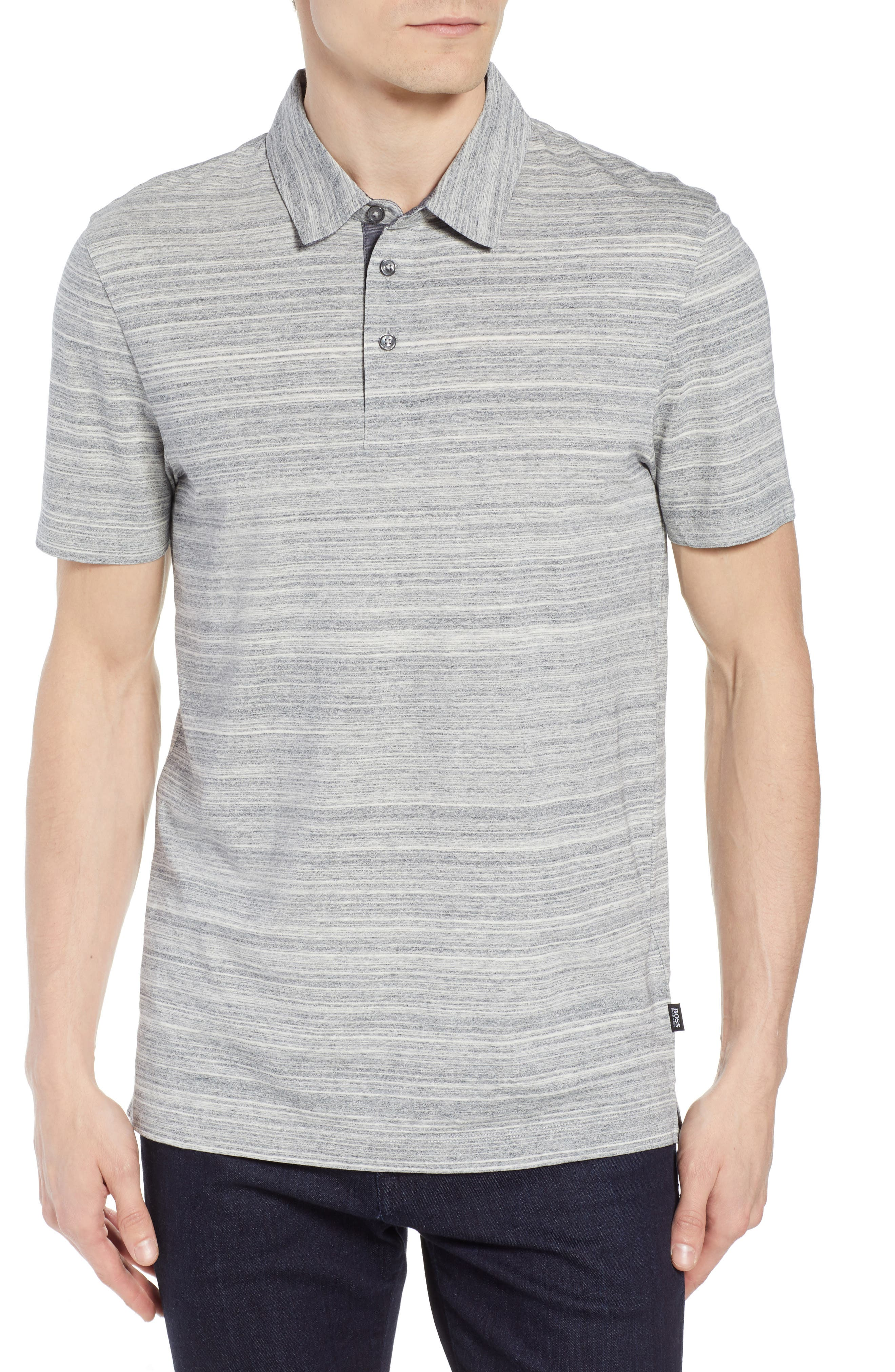 Place Slim Fit Space Dyed Polo,                             Main thumbnail 1, color,                             LIGHT GREY