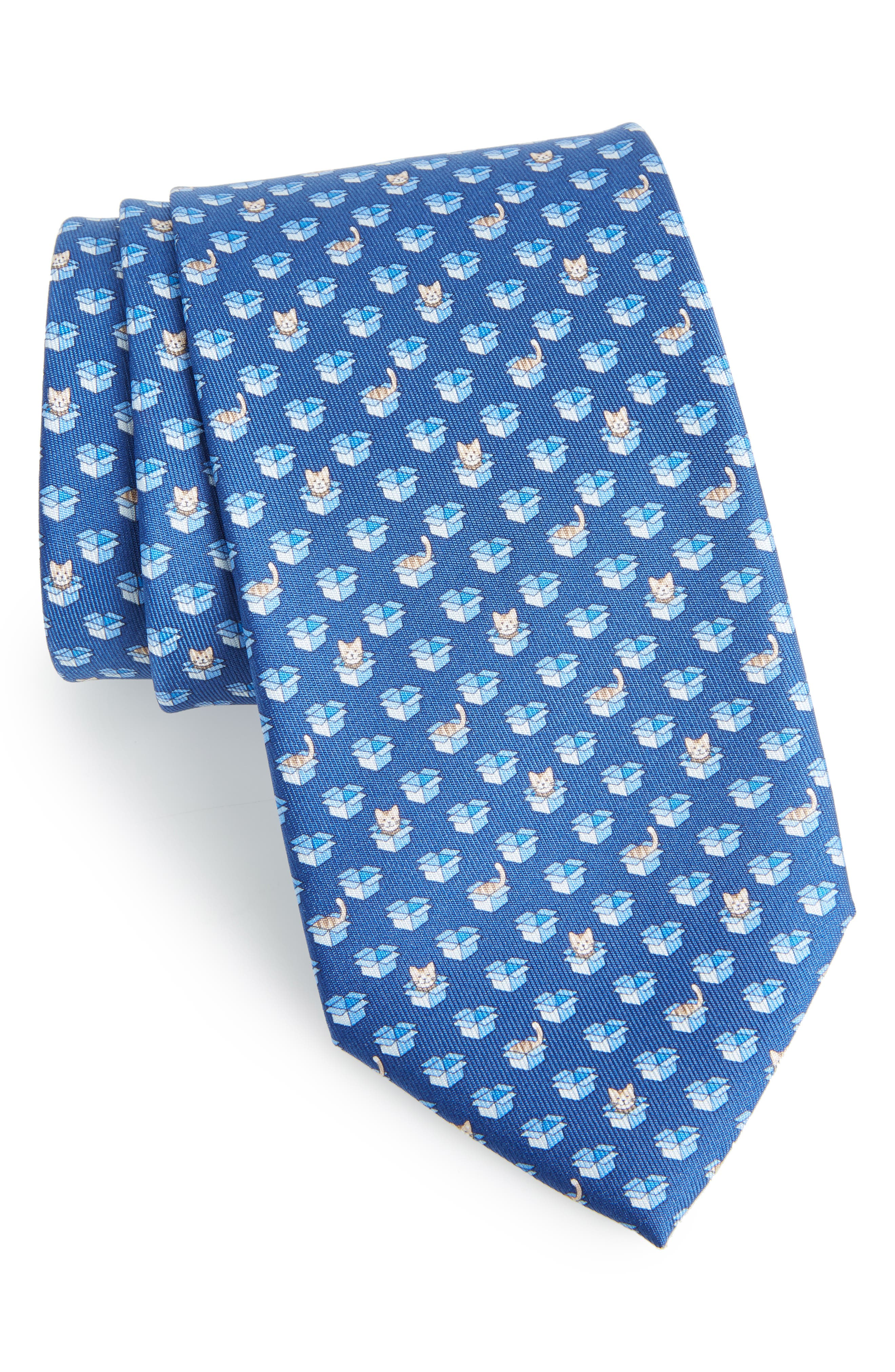 Felix Print Silk Tie,                         Main,                         color, BLUE