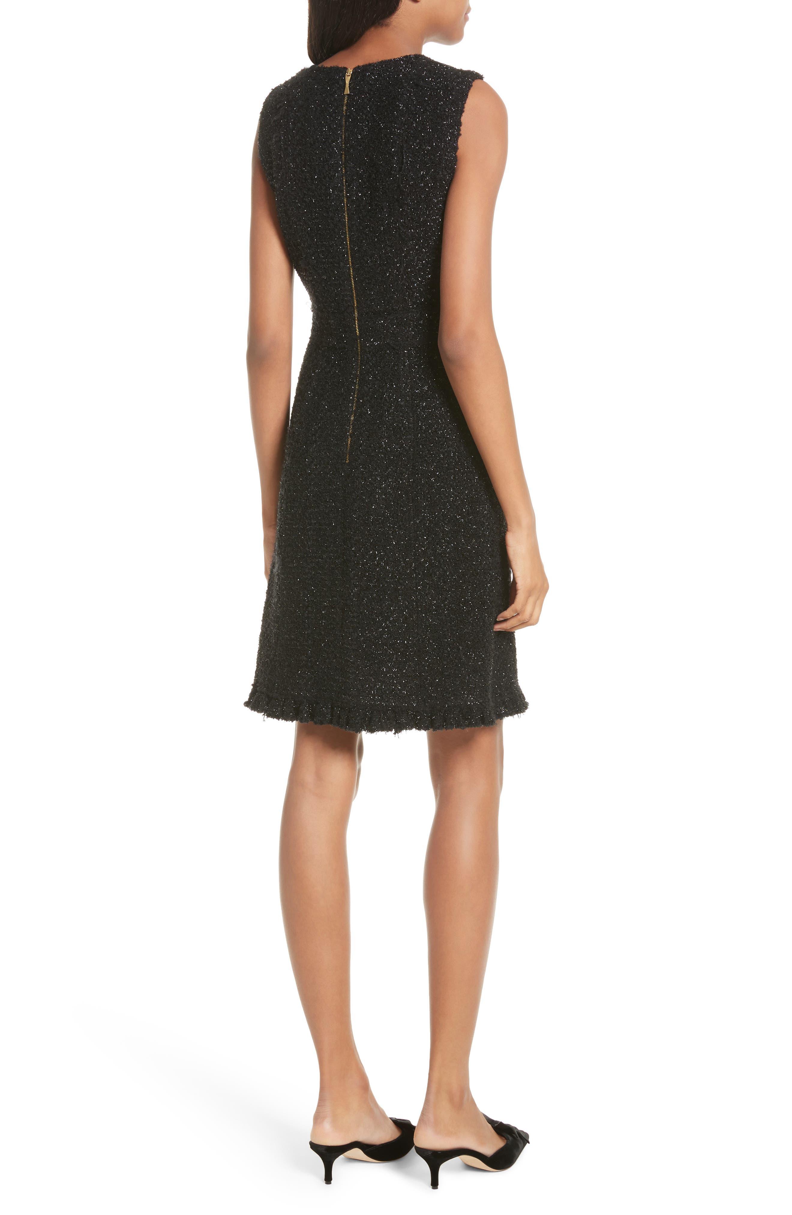 sparkle tweed dress,                             Alternate thumbnail 2, color,                             001