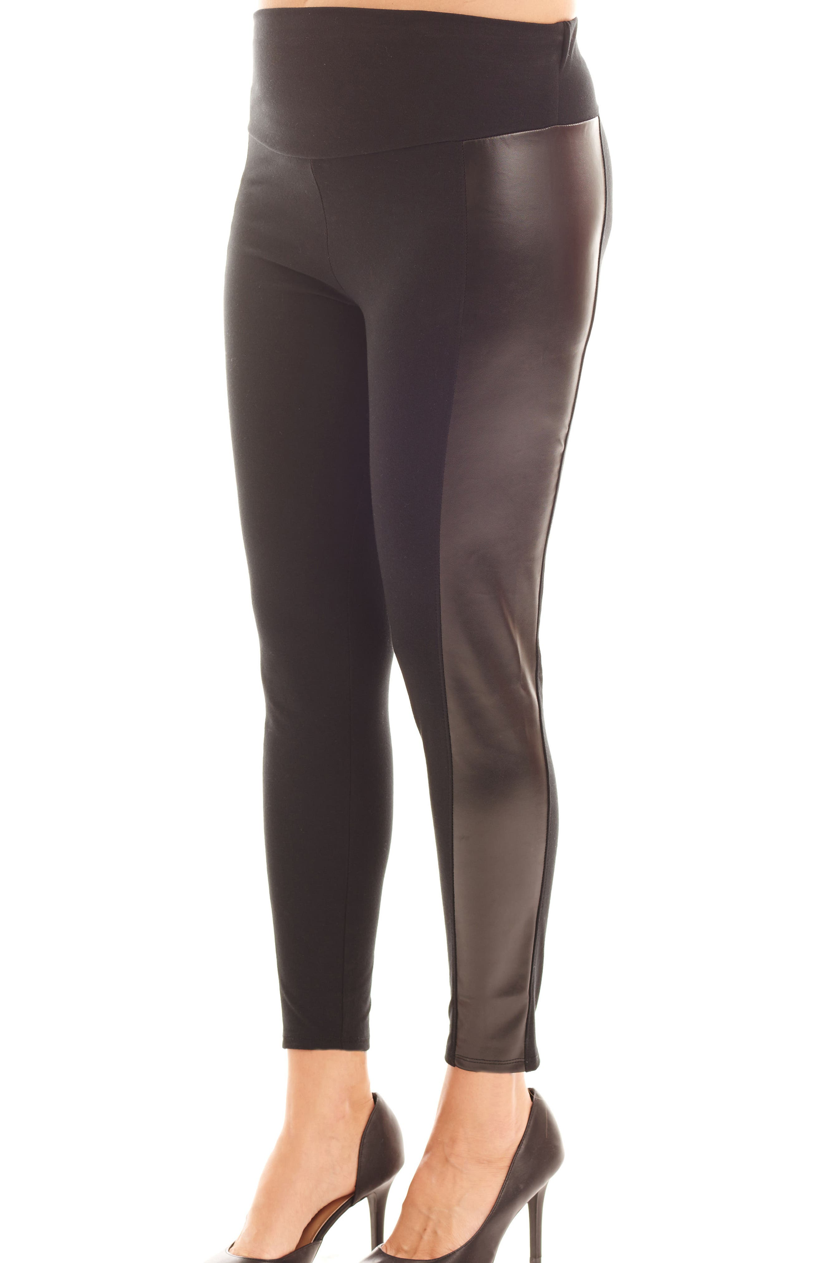 Ella Faux Leather & Knit Maternity Leggings,                             Alternate thumbnail 3, color,                             001