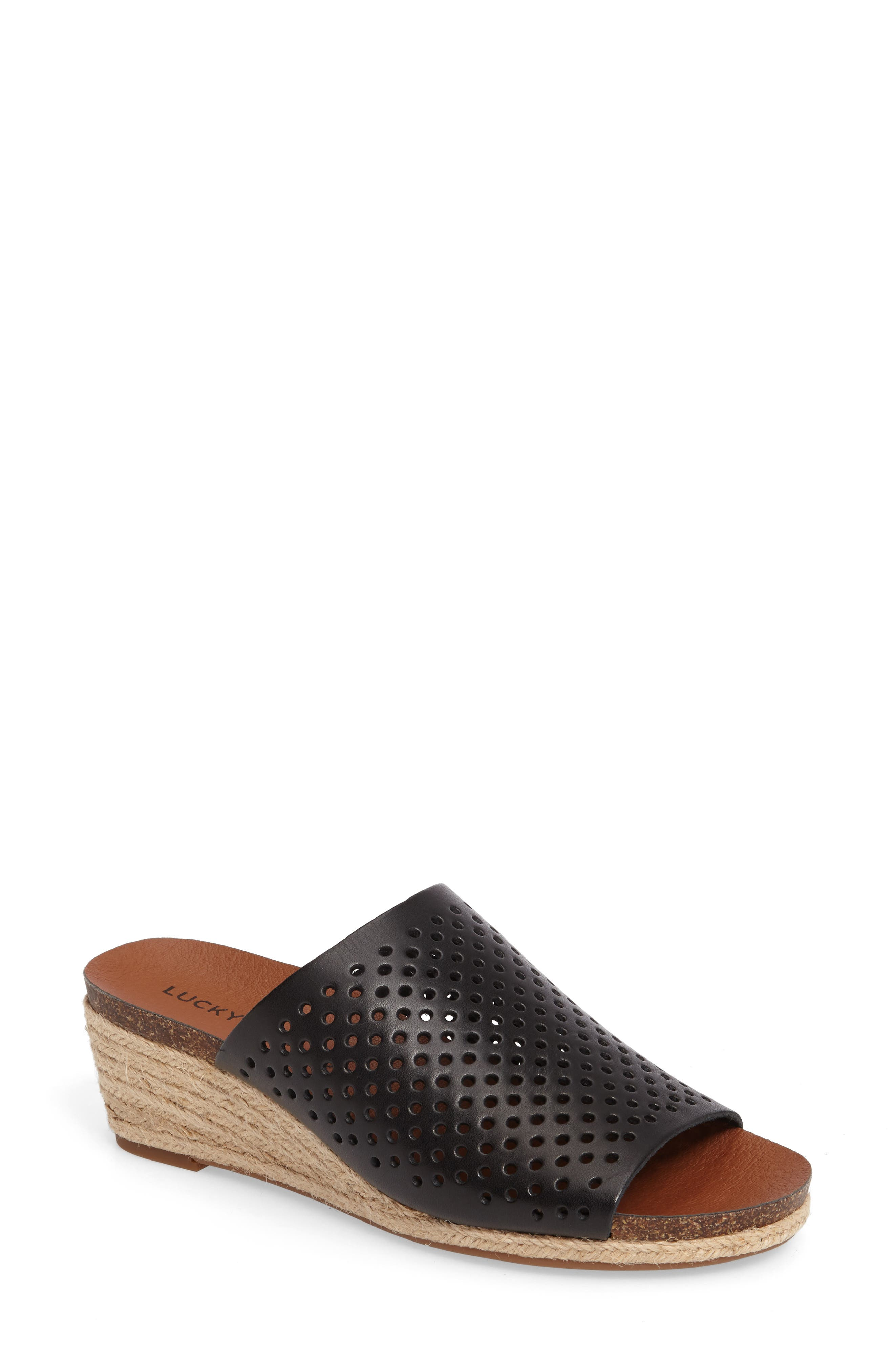 Jemya Perforated Open Toe Mule,                         Main,                         color, 001