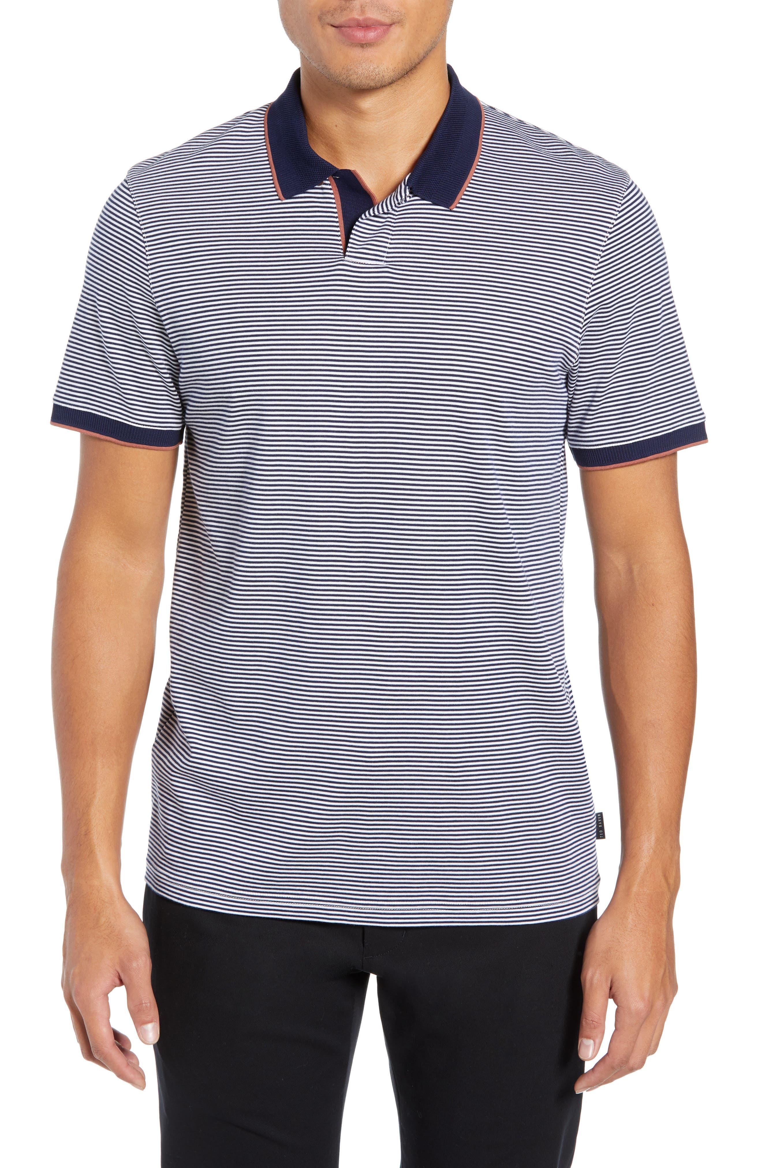 Gingen Trim Fit Stripe Polo,                         Main,                         color, NAVY