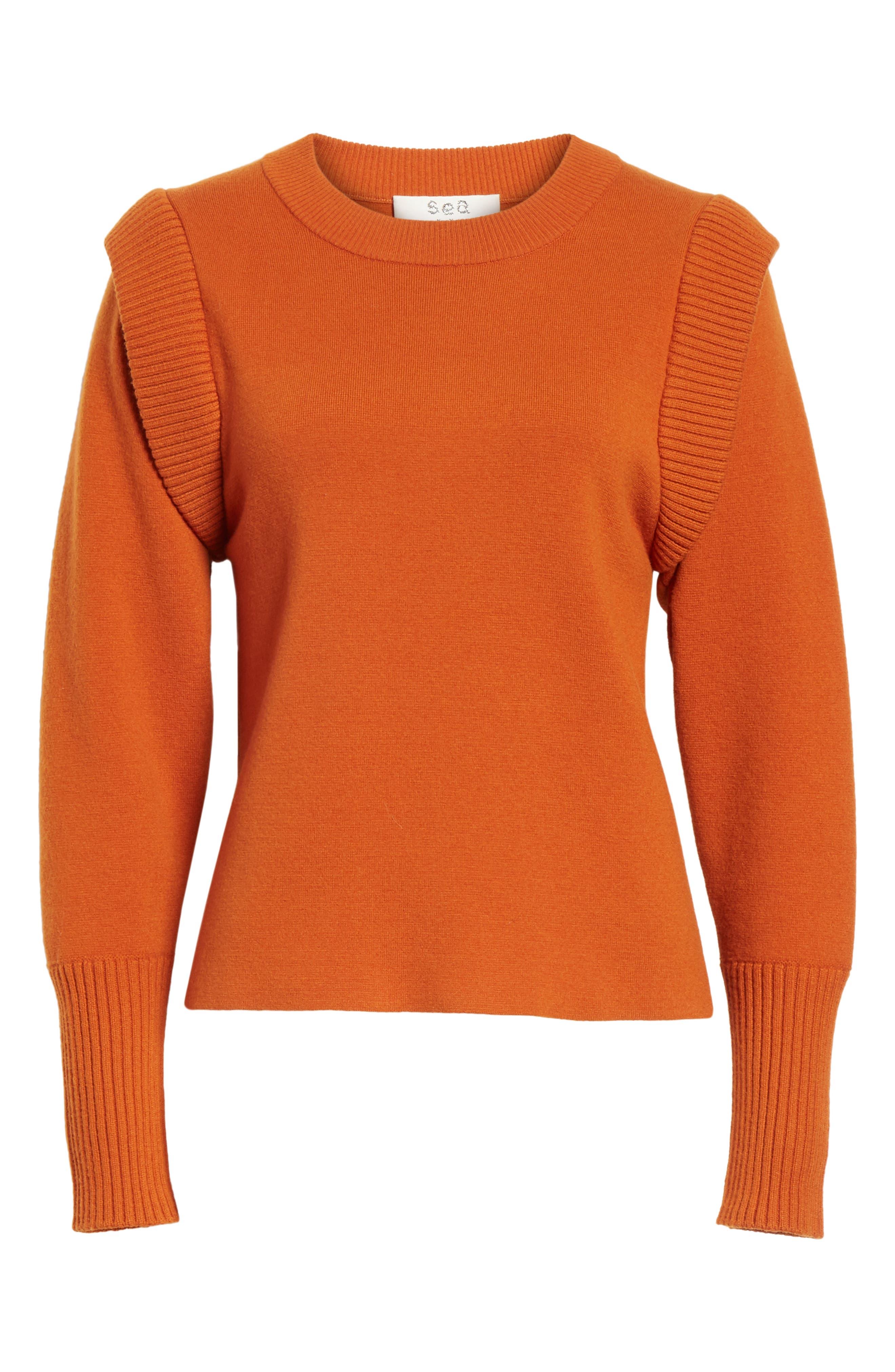 SEA,                             Rib Trim Milano Knit Sweater,                             Alternate thumbnail 6, color,                             800