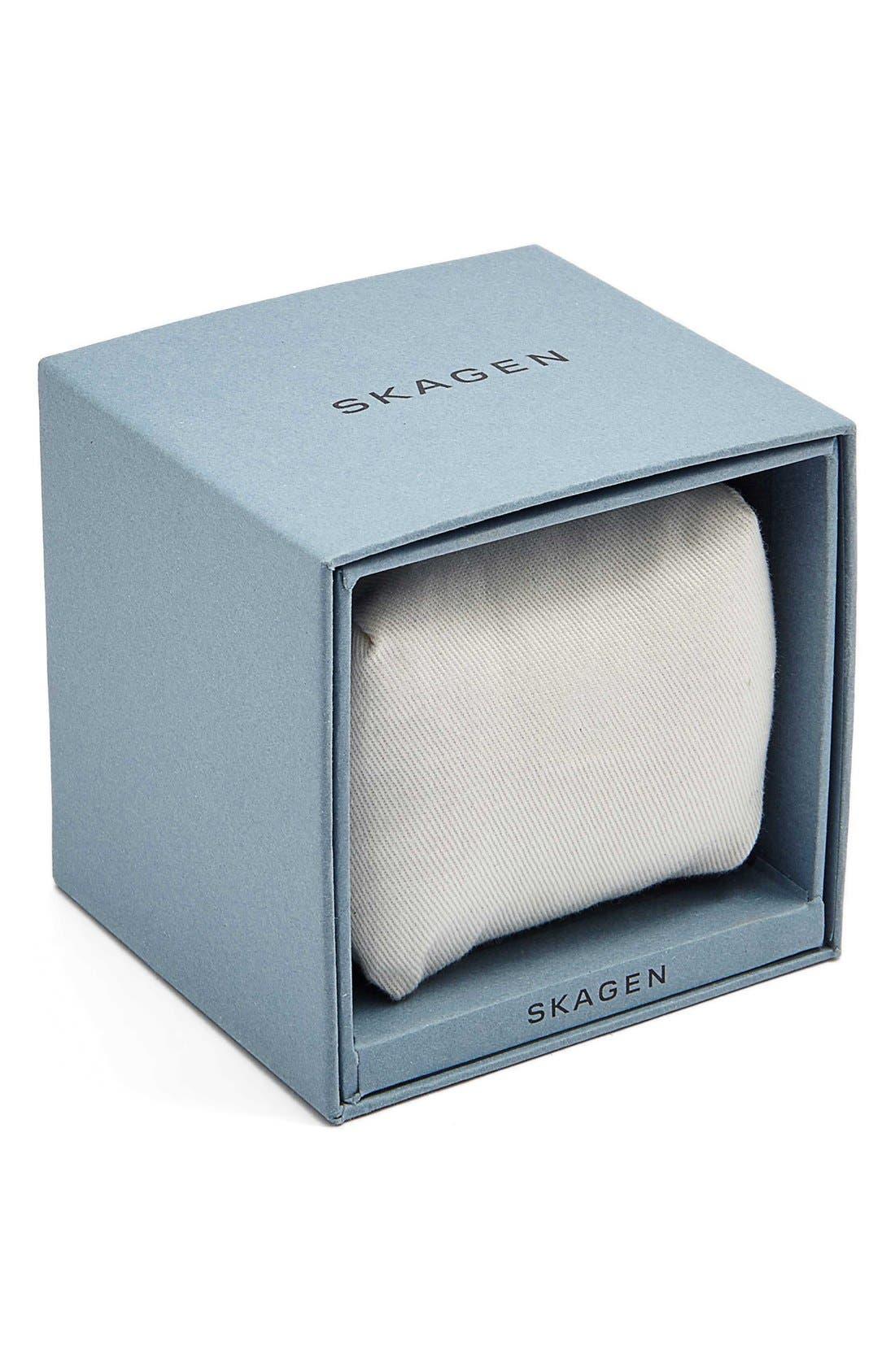 SKAGEN,                             'Anita' Crystal Index Bracelet Watch, 30mm,                             Alternate thumbnail 3, color,                             SILVER/ GOLD