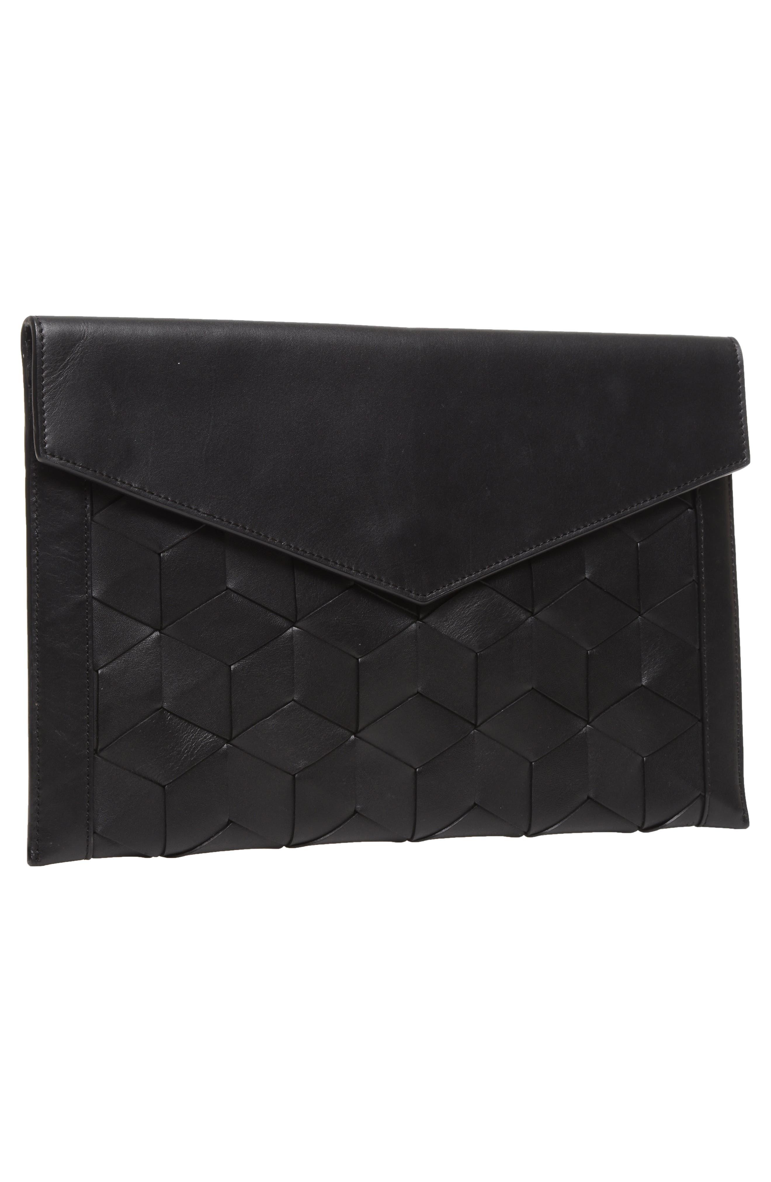 Mingle Woven Calfskin Leather Clutch,                             Alternate thumbnail 8, color,                             BLACK