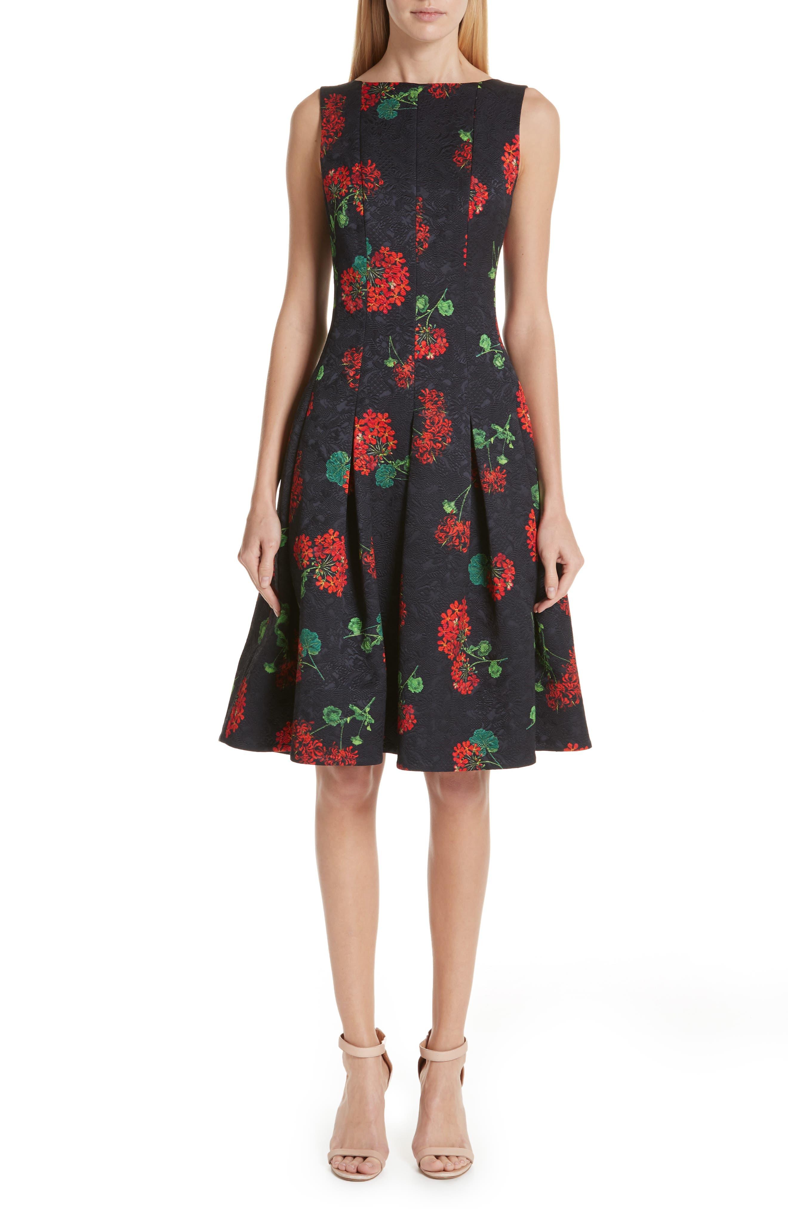 OSCAR DE LA RENTA Sleeveless Floral-Jacquard 2-Pocket Fit-And-Flare Dress in Black