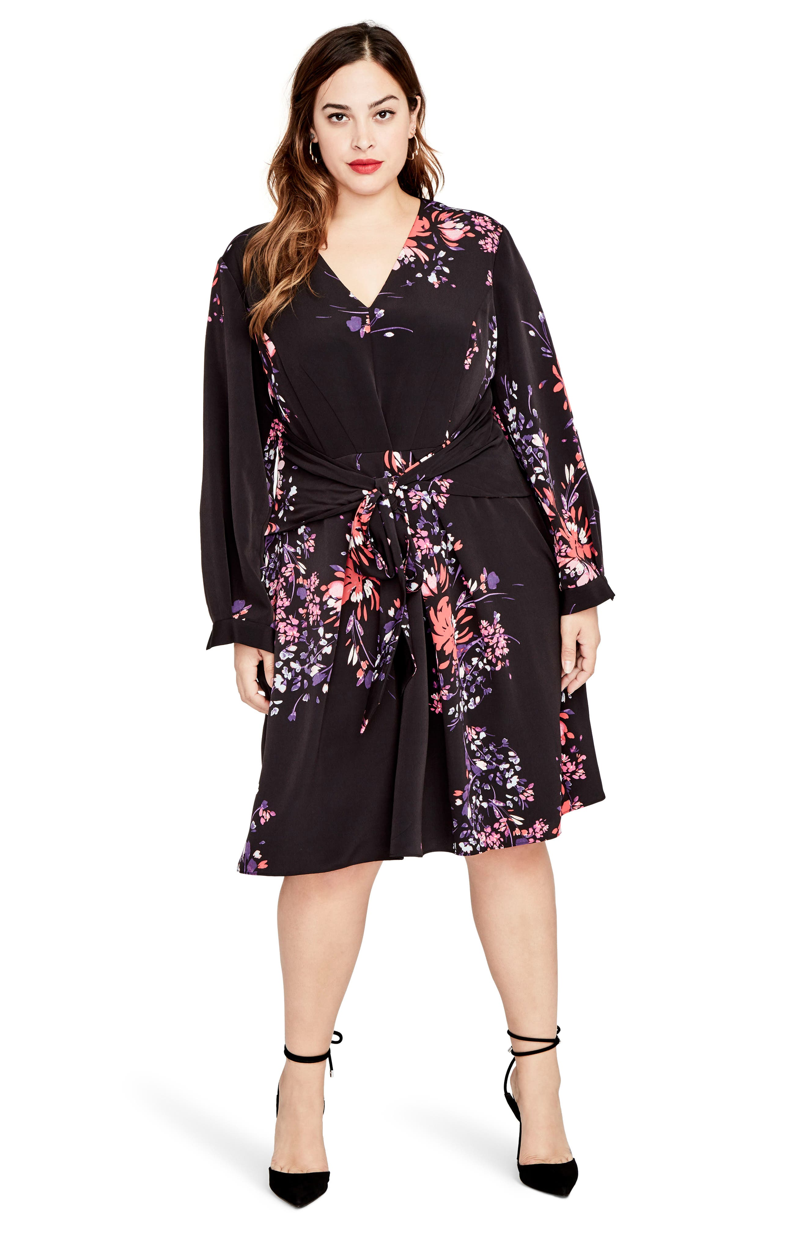 Tie Front Floral Dress,                             Alternate thumbnail 3, color,