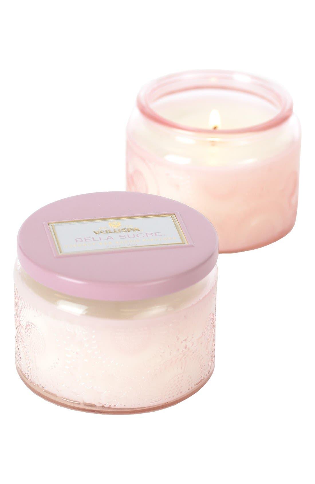 'Japonica - Bella Sucre' Petite Colored Jar Candle,                             Main thumbnail 1, color,                             000