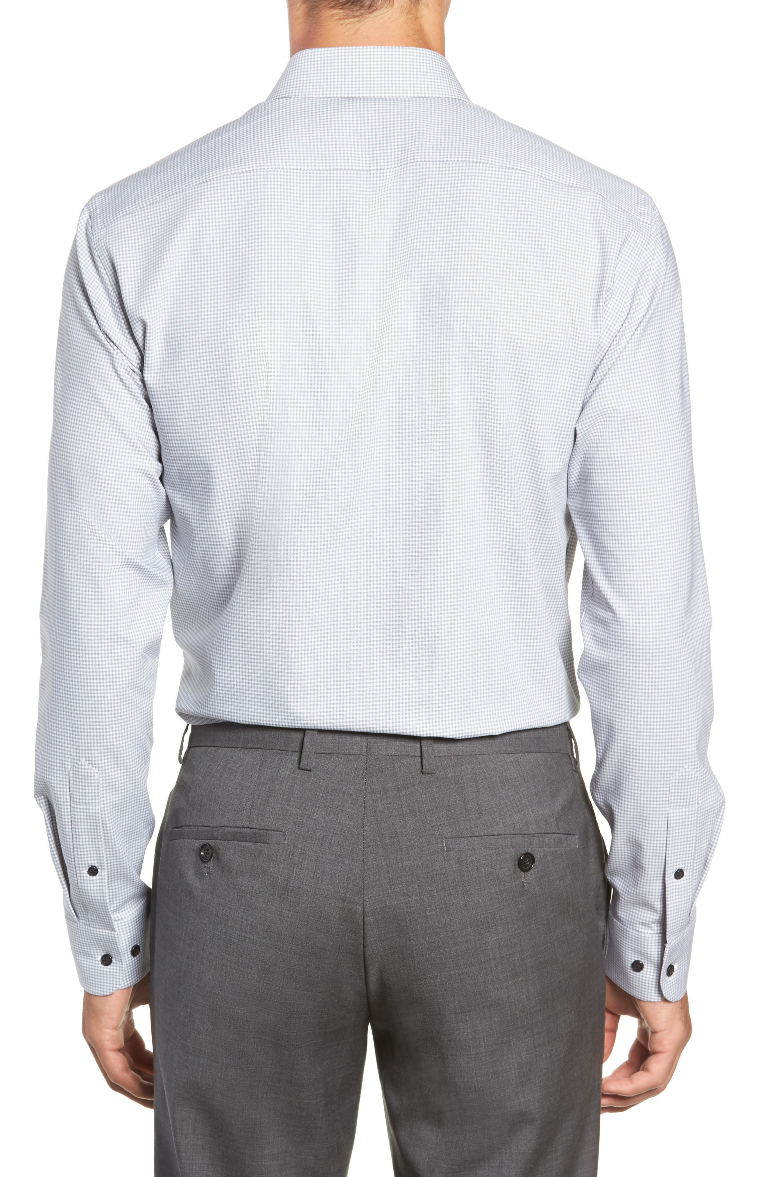 Tech-Smart Trim Fit Stretch Check Dress Shirt,                             Alternate thumbnail 3, color,                             GREY SLEET