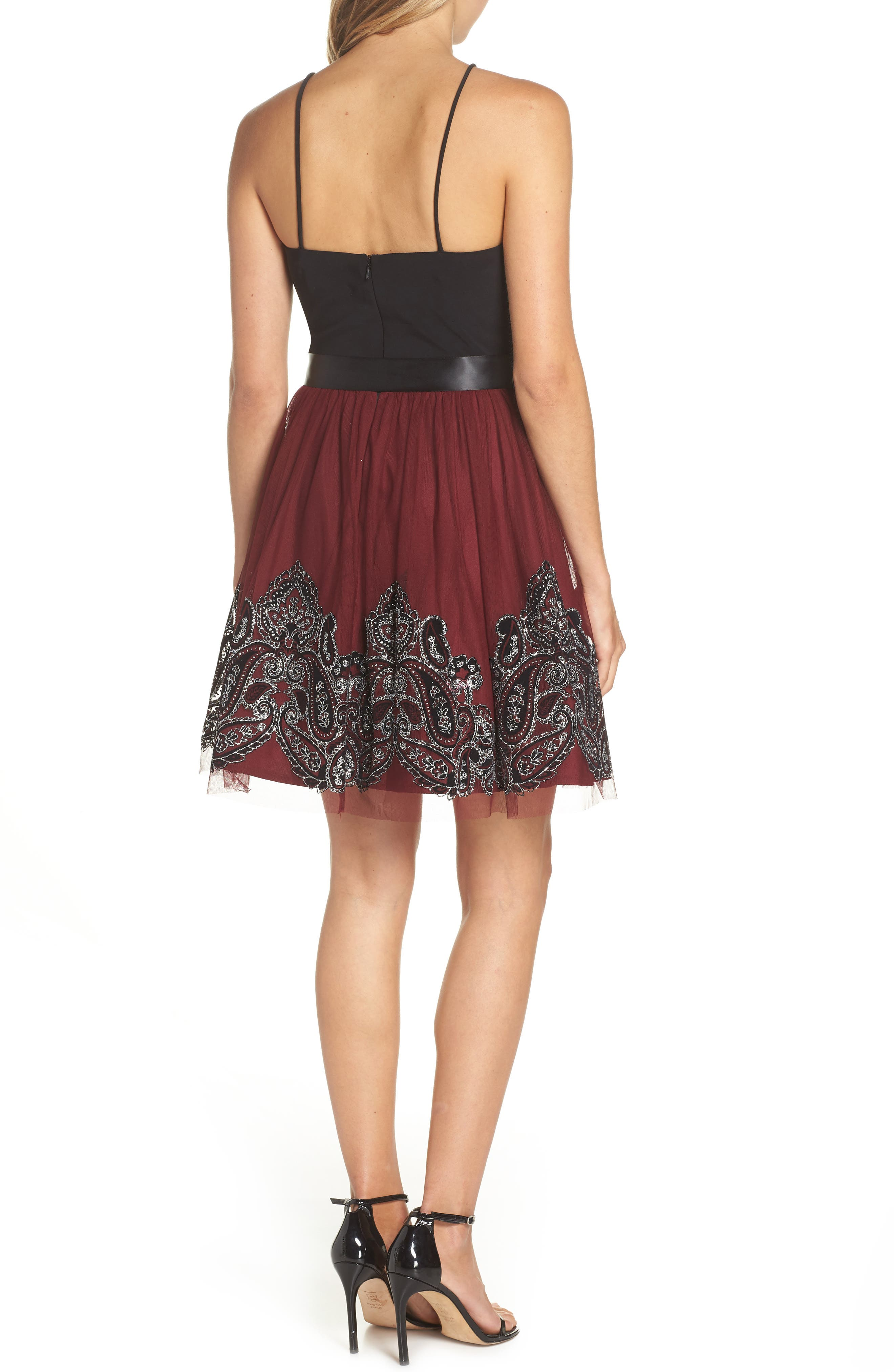 Embroidered Fit & Flare Dress,                             Alternate thumbnail 2, color,                             BLACK/ WINE