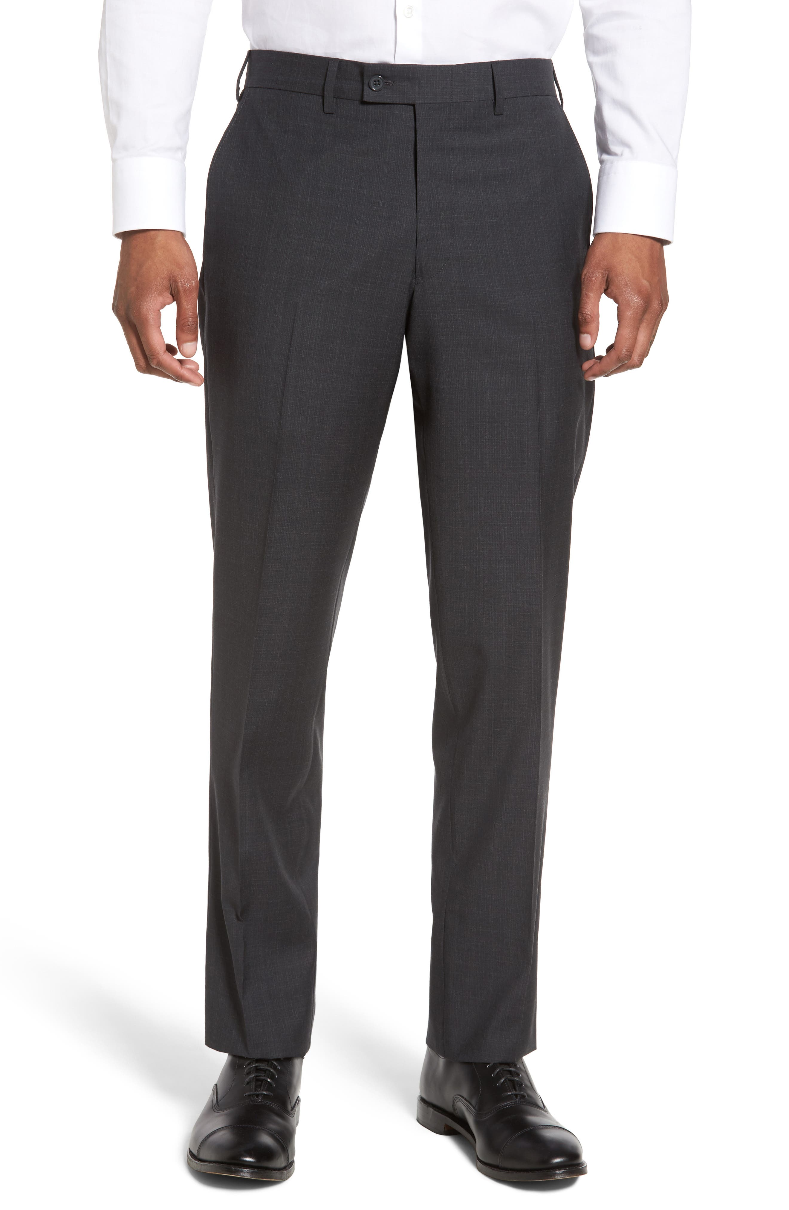 Flat Front Solid Wool Trousers,                             Main thumbnail 2, color,