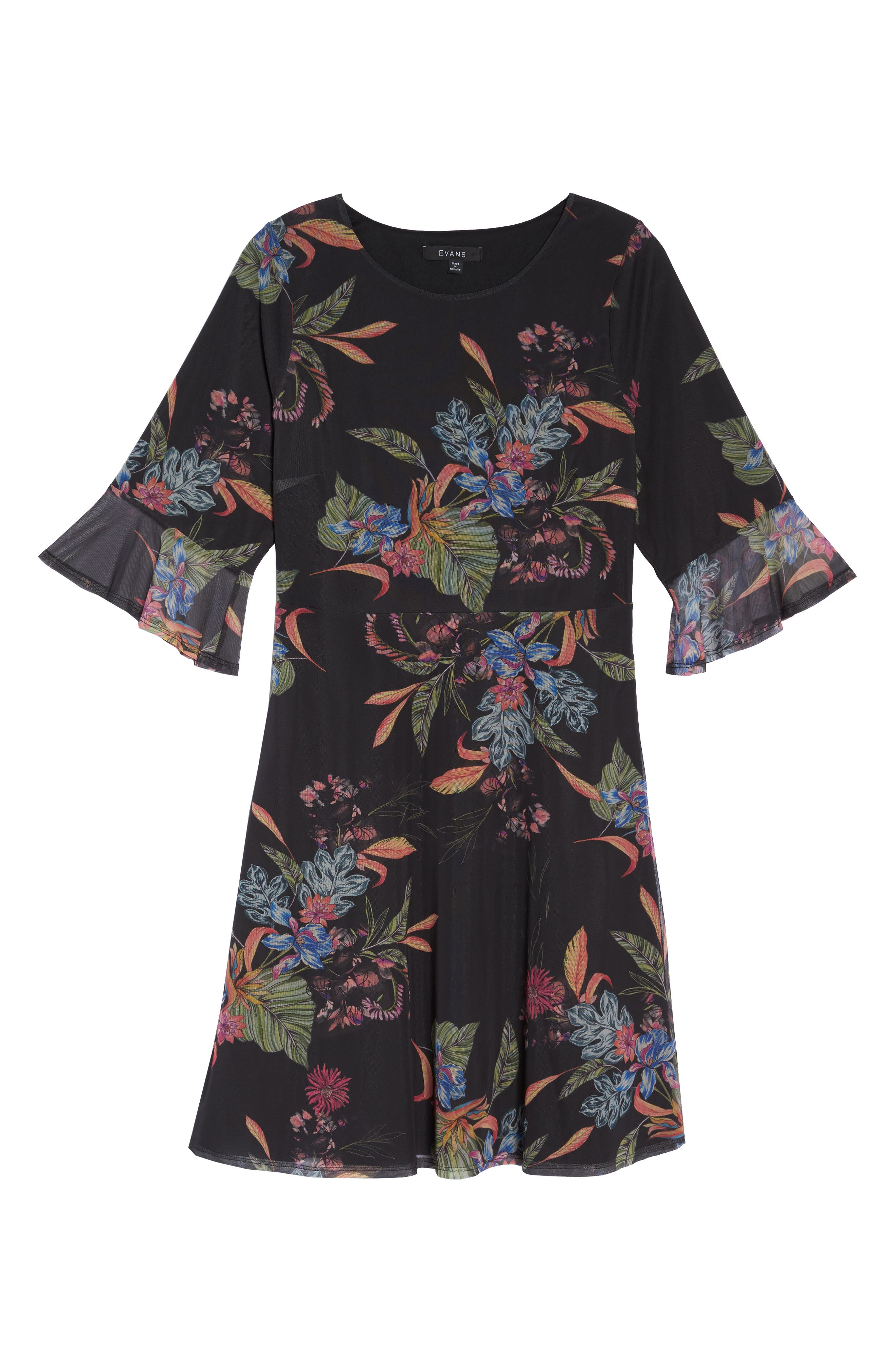 Tropic Print Mesh Dress,                             Alternate thumbnail 6, color,                             001