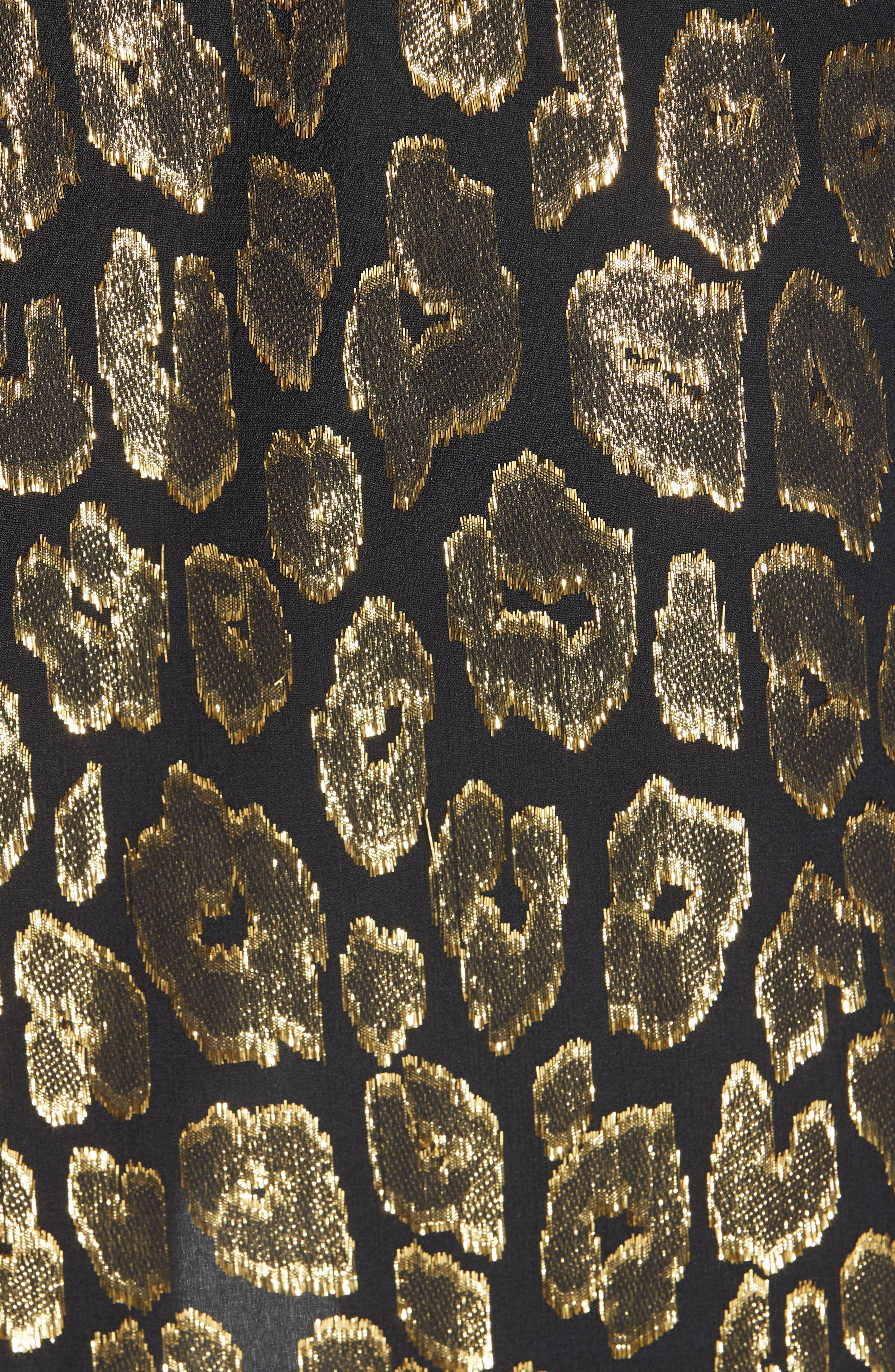 A.L.C.,                             Elsa Marina Leopard Fil Coupé Dress,                             Alternate thumbnail 6, color,                             001