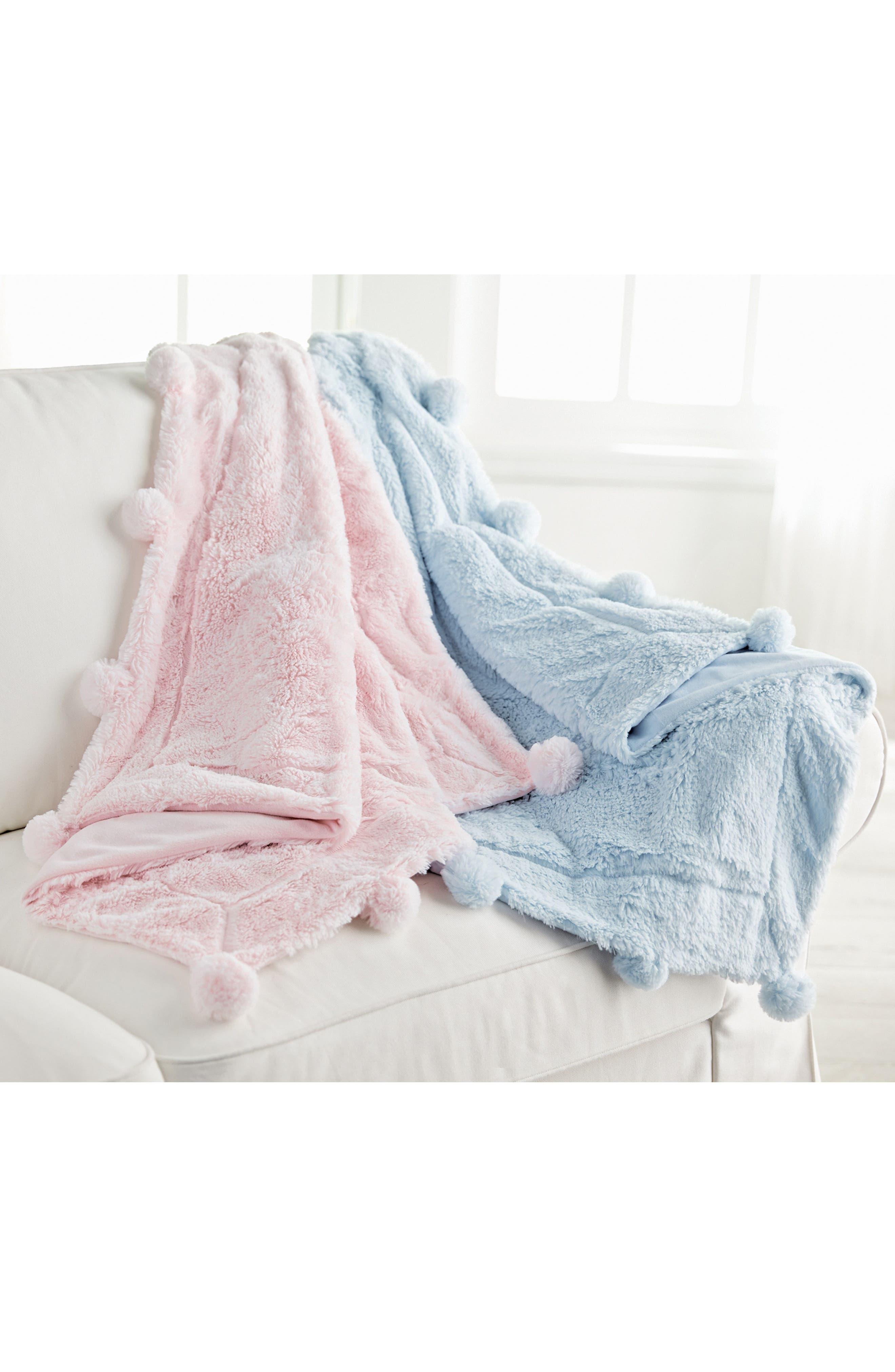 Pompom Receiving Blanket,                             Alternate thumbnail 2, color,                             PINK
