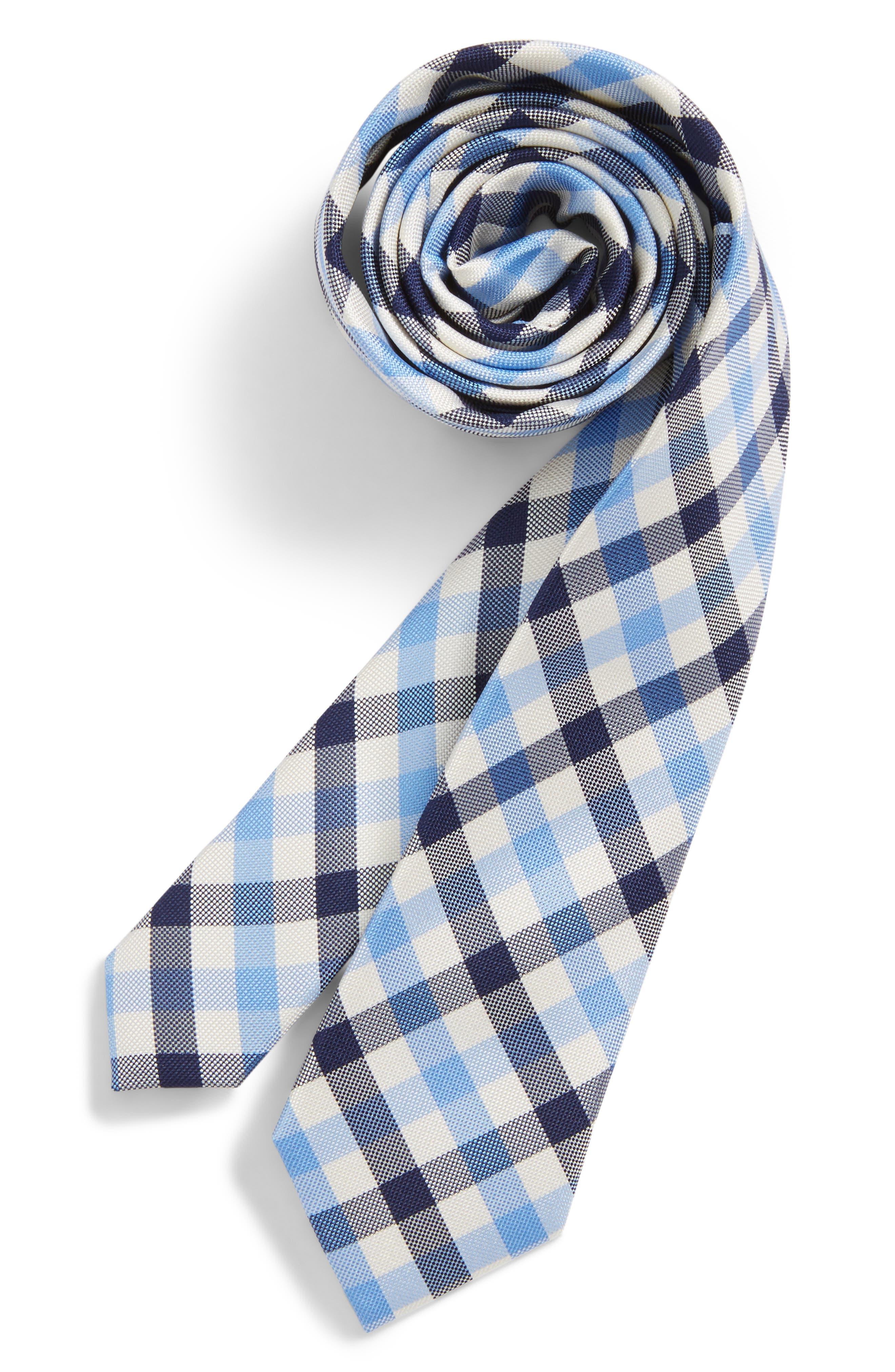 Window Plaid Silk Tie,                         Main,                         color, 455