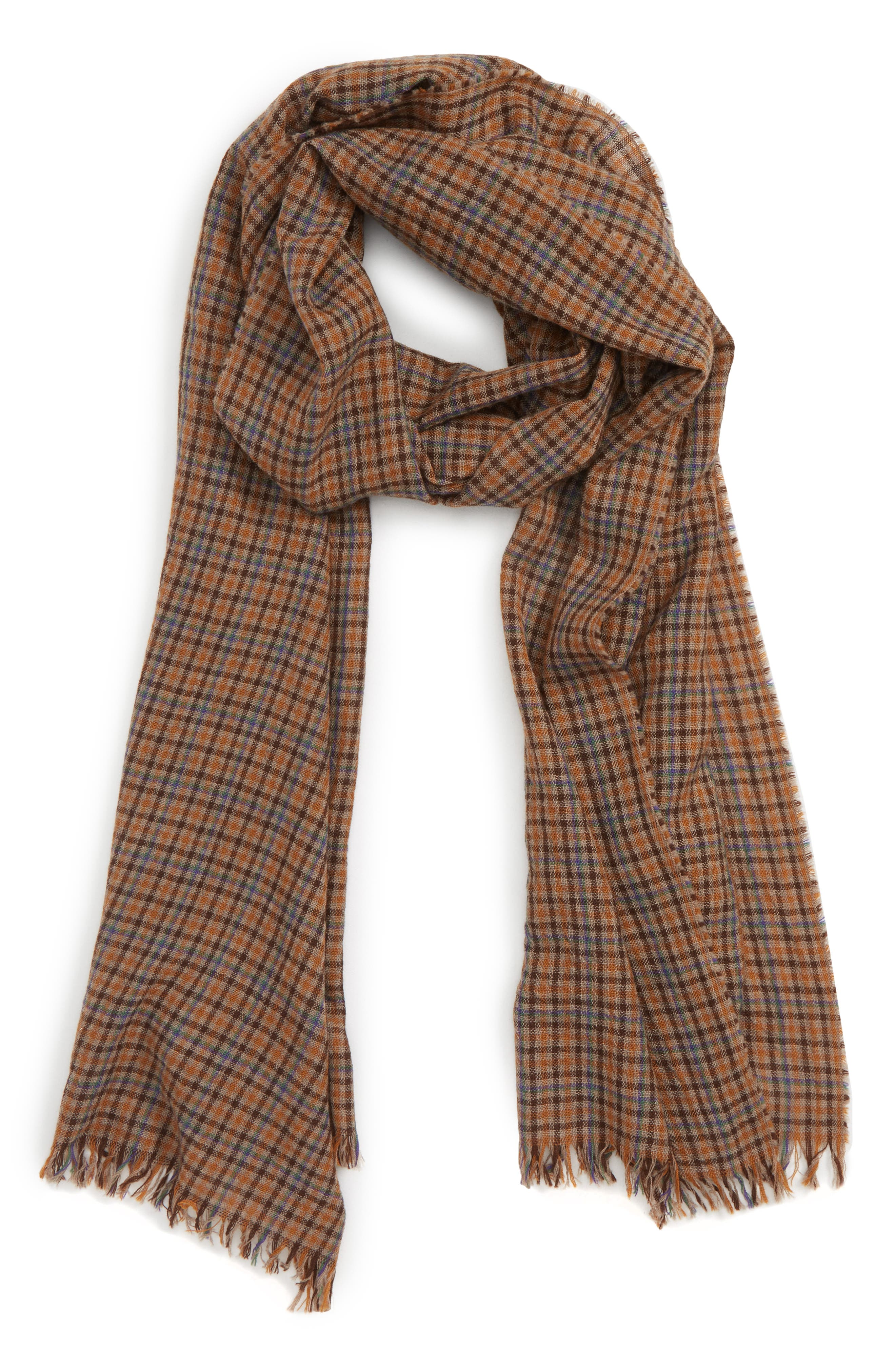 Drakes Plaid Merino Wool Scarf,                             Main thumbnail 1, color,                             BROWN CHECK
