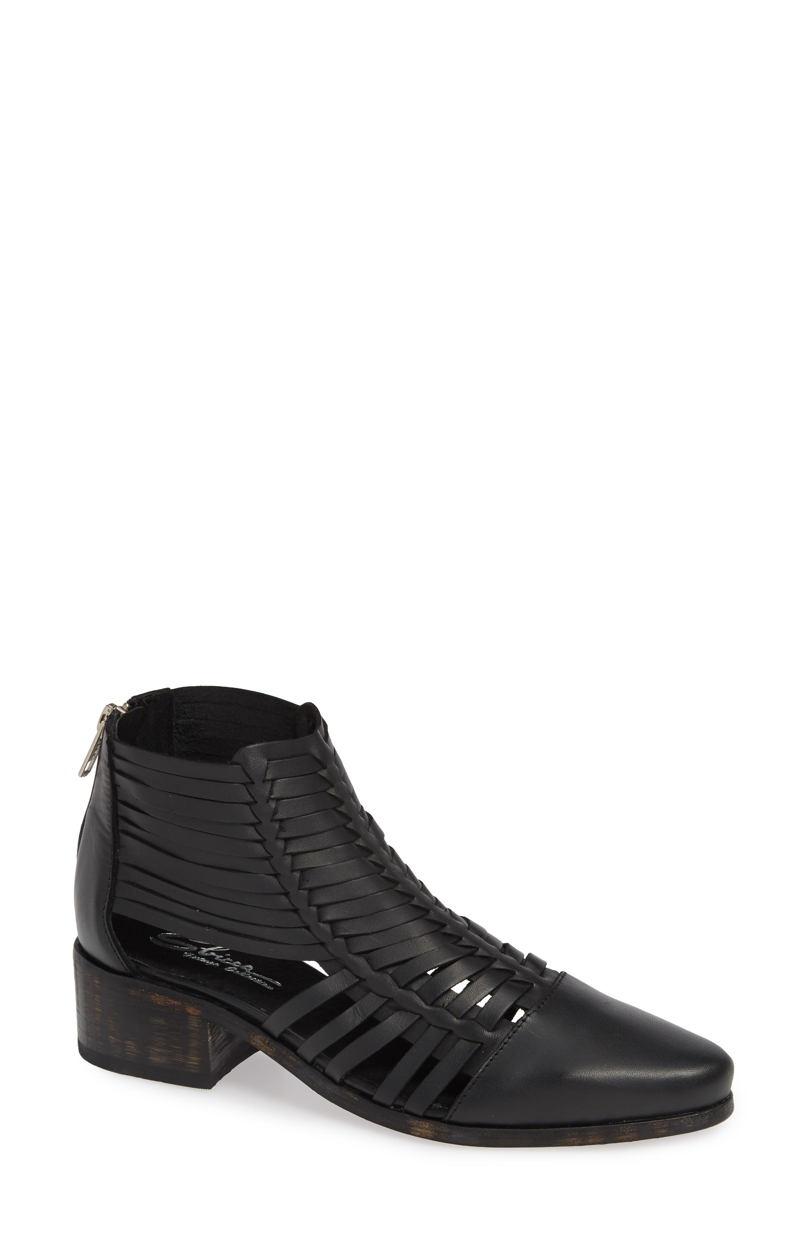 Rosabell Woven Bootie,                             Main thumbnail 1, color,                             BLACK LEATHER