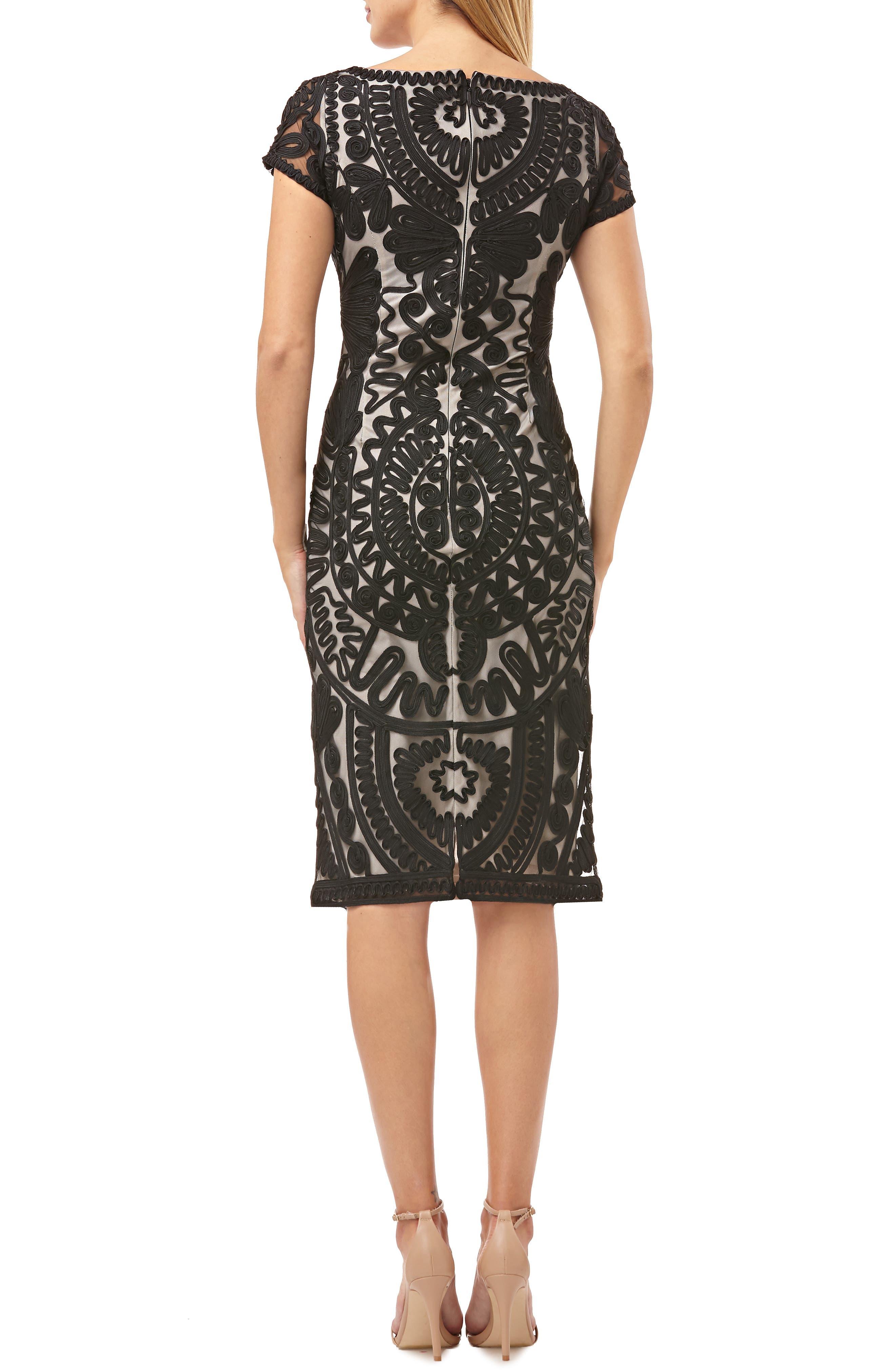 Short Sleeve Soutache Mesh Cocktail Dress,                             Alternate thumbnail 2, color,                             BLACK/ VANILLA