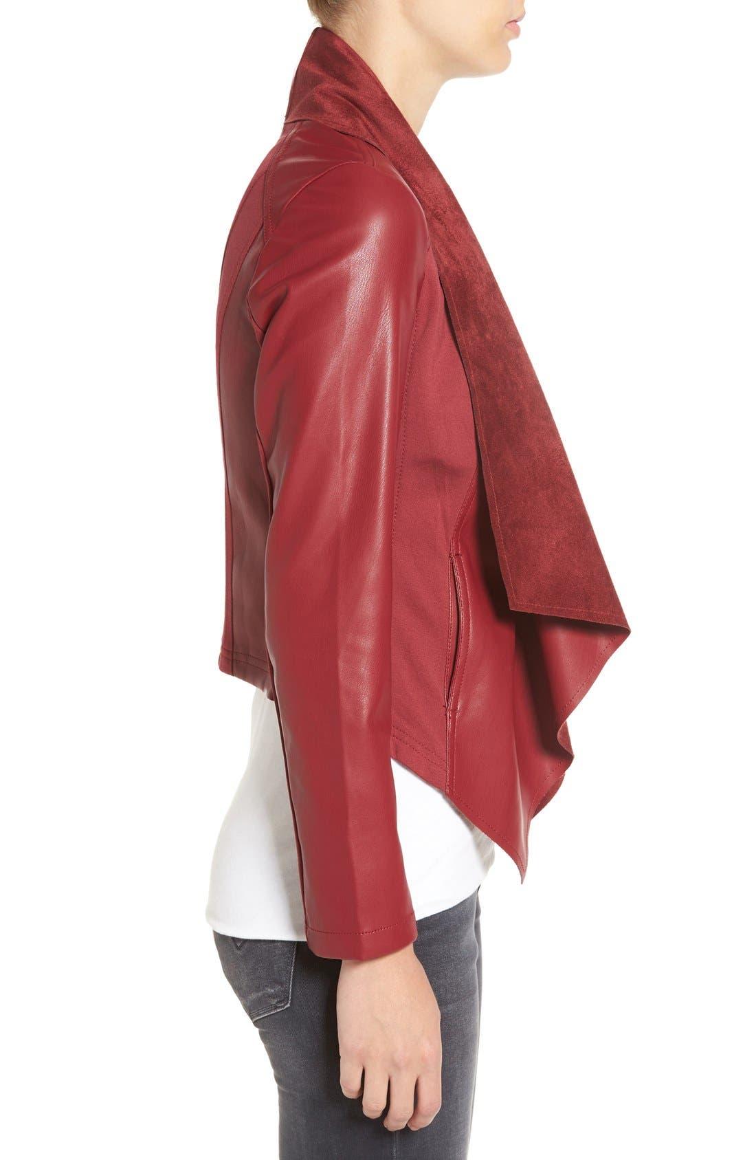 'Ana' Faux Leather Drape Front Jacket,                             Alternate thumbnail 10, color,
