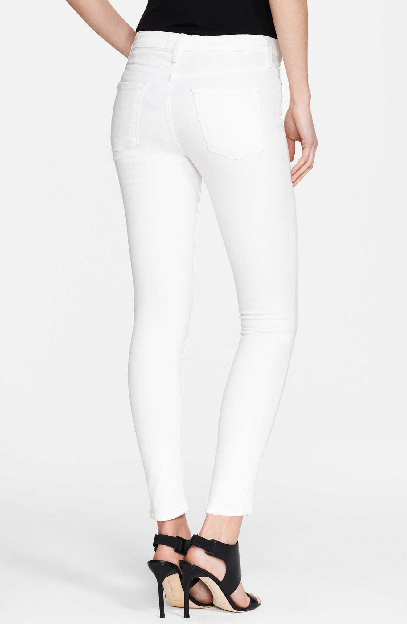 Le Color Skinny Jeans,                             Alternate thumbnail 3, color,                             BLANC