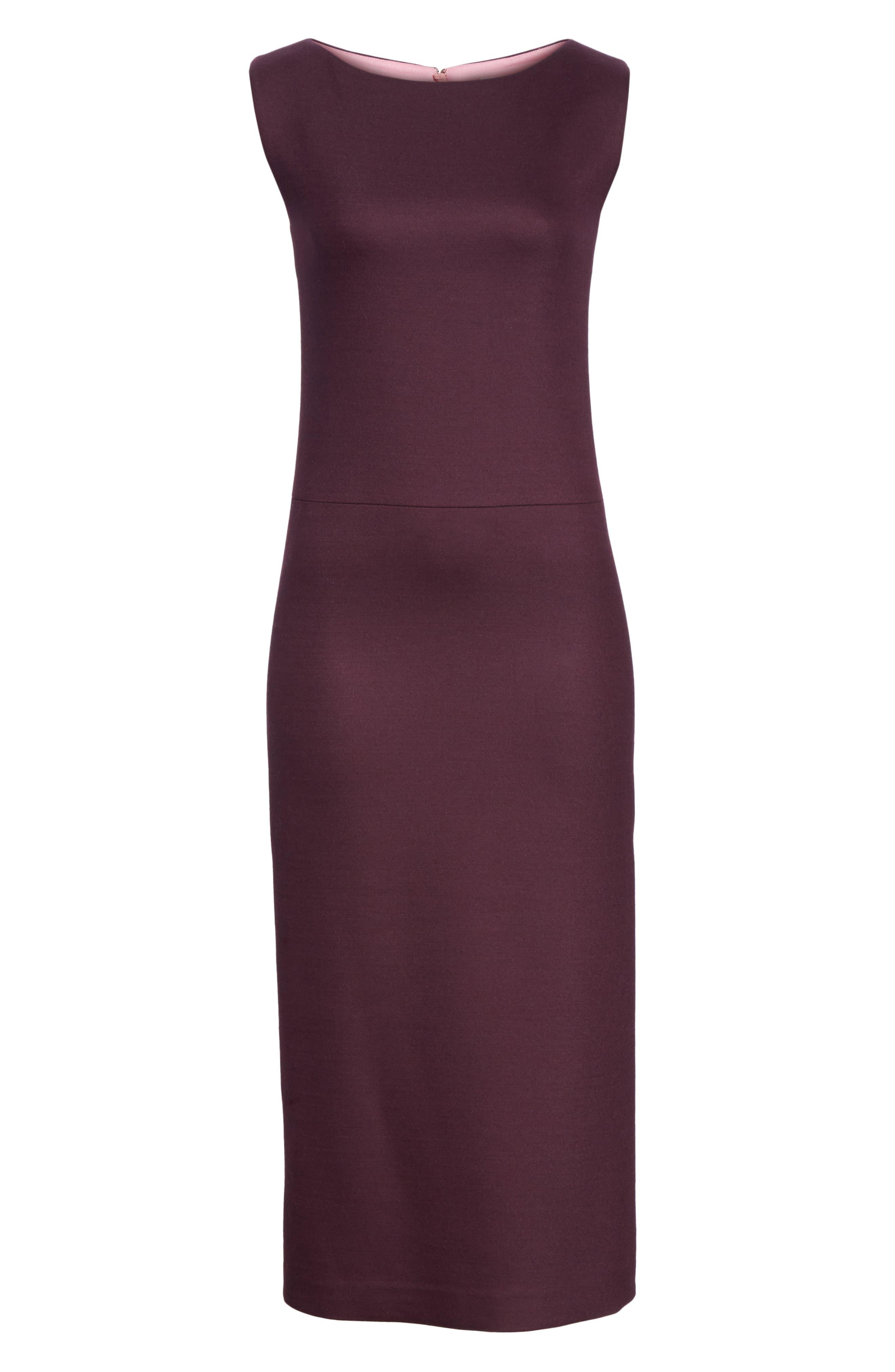 ADAM LIPPES,                             Double Face Wool Sheath Dress,                             Alternate thumbnail 6, color,                             BURGUNDY/ PINK