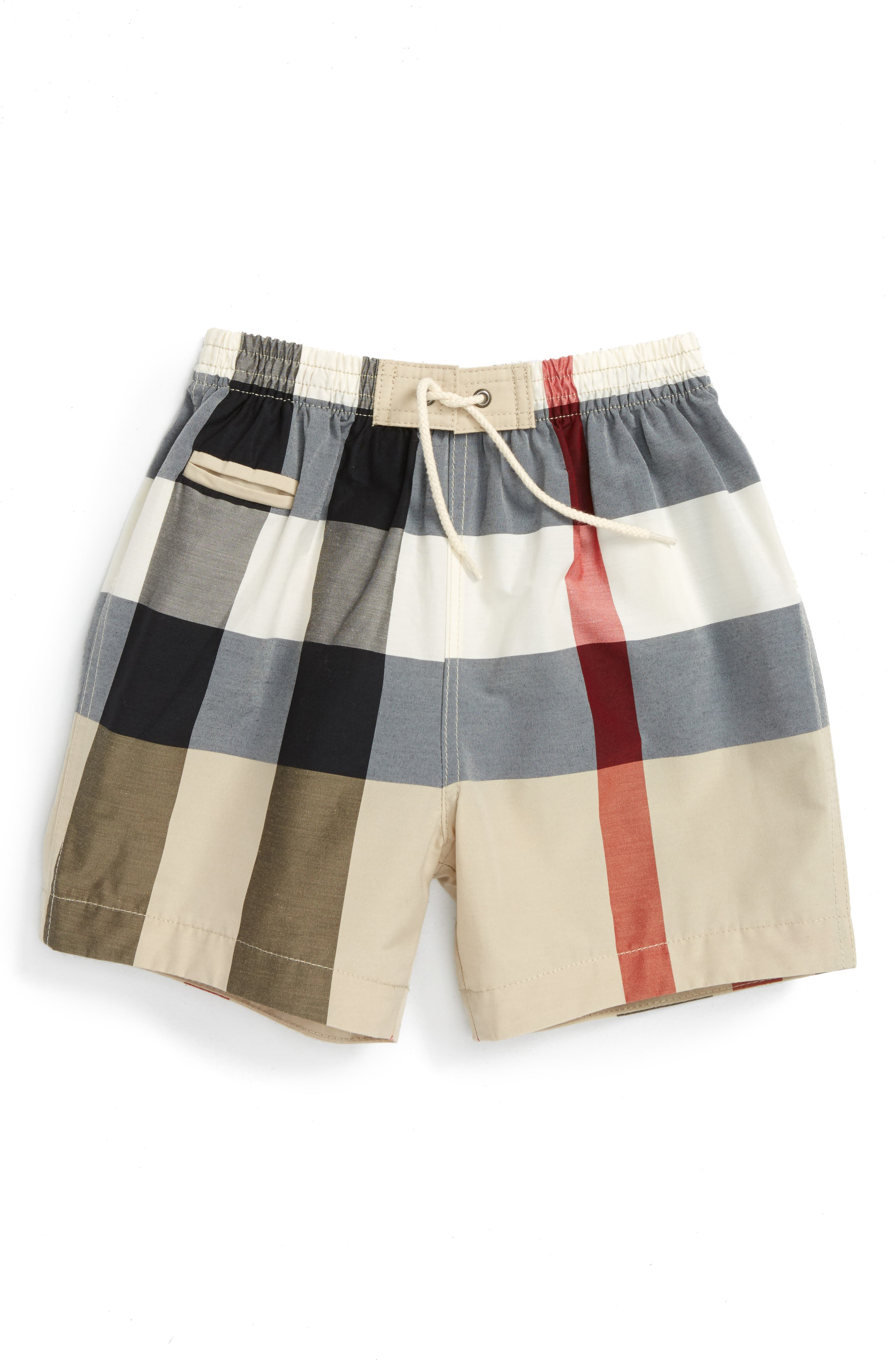 Saxon Check Swim Trunks,                             Main thumbnail 1, color,                             NEW CLASSIC