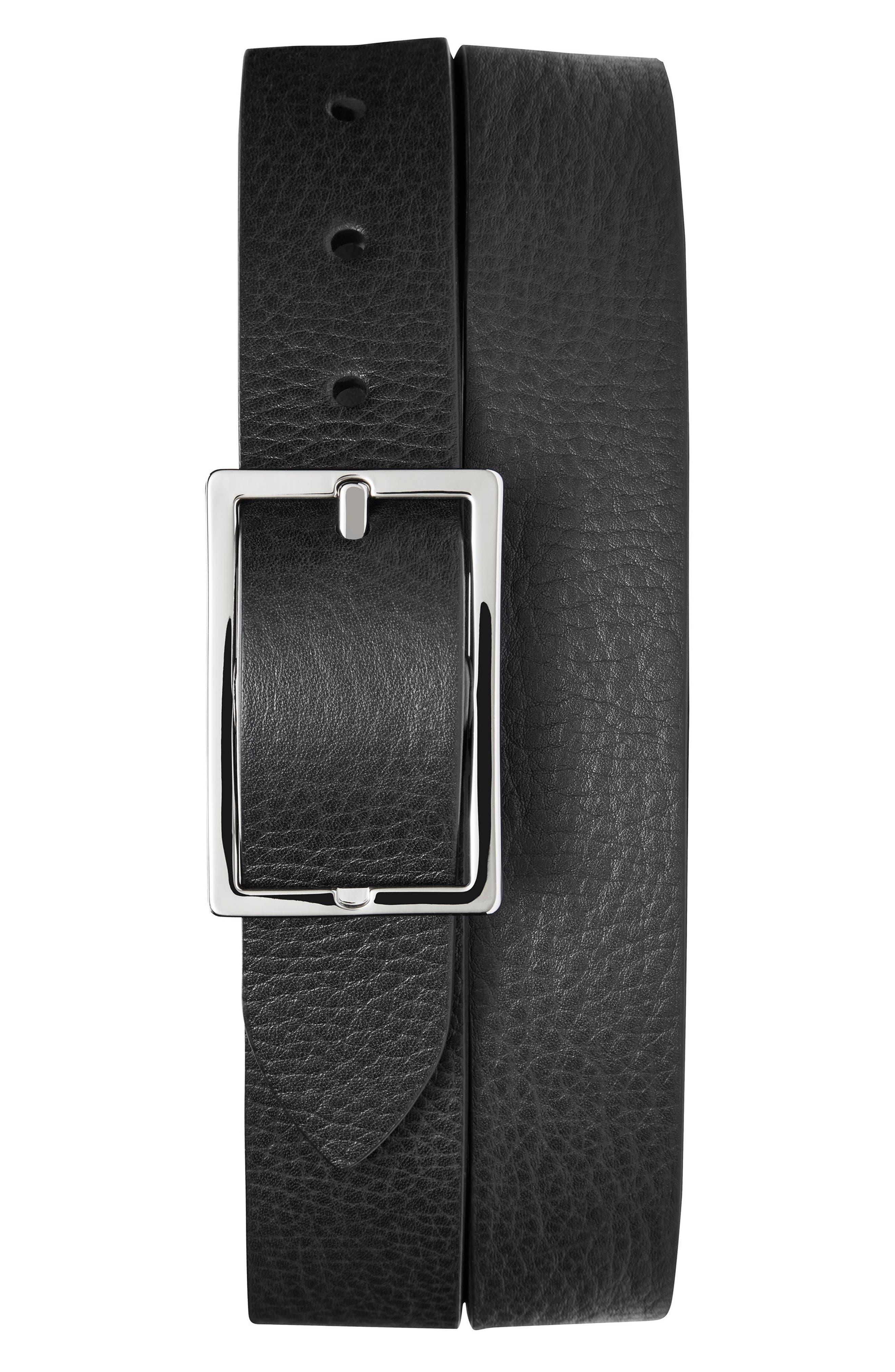 Reversible Leather Belt,                         Main,                         color, BLACK/ WALNUT